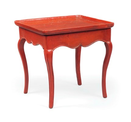 A RED JAPANNED TRAY-TOP TABLE
