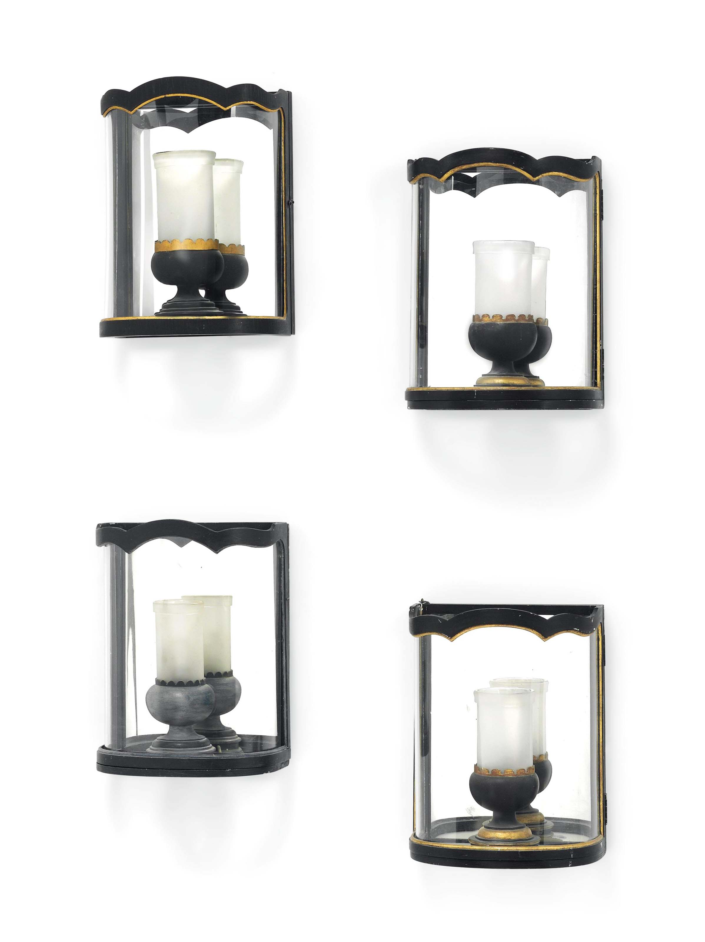 A GROUP OF FOUR BROWN-PAINTED TOLE WALL LANTERNS