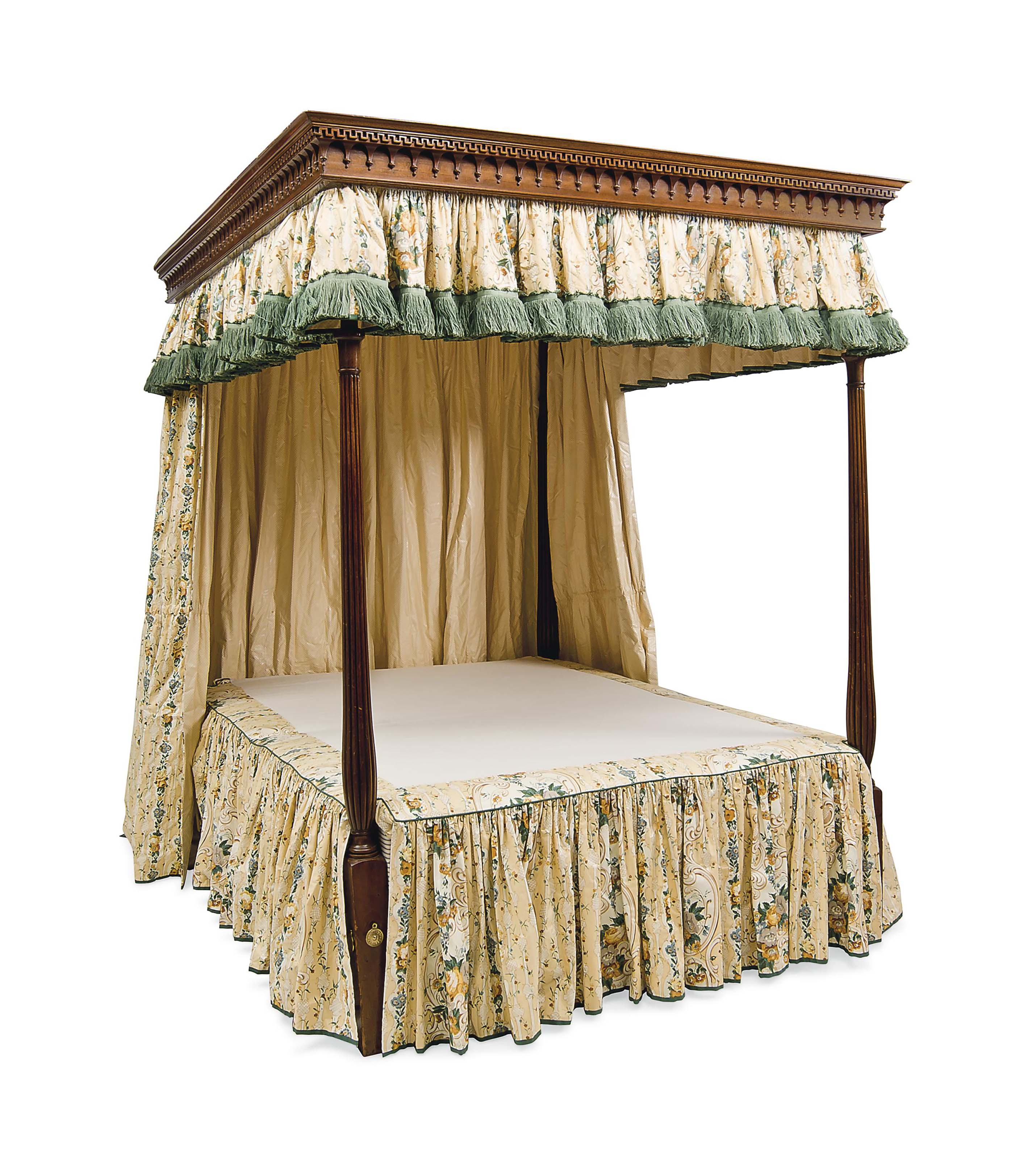 A GEORGE III STYLE MAHOGANY TESTER BED