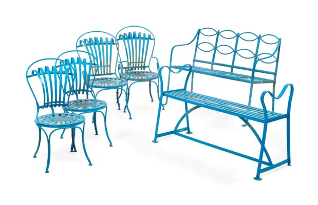 A GROUP OF FRENCH BLUE-PAINTED