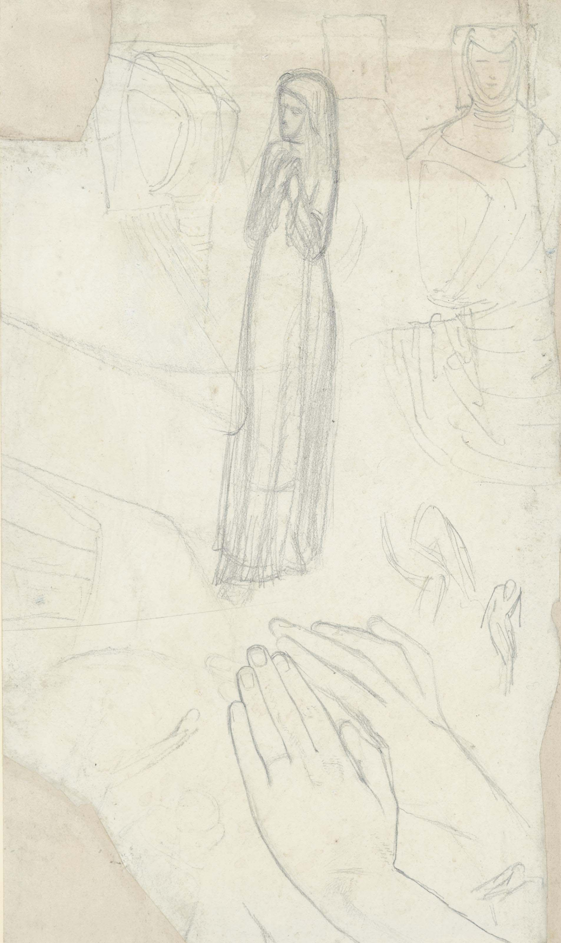 Studies of the figure and hands of Isabella for the picture Claudio and Isabella