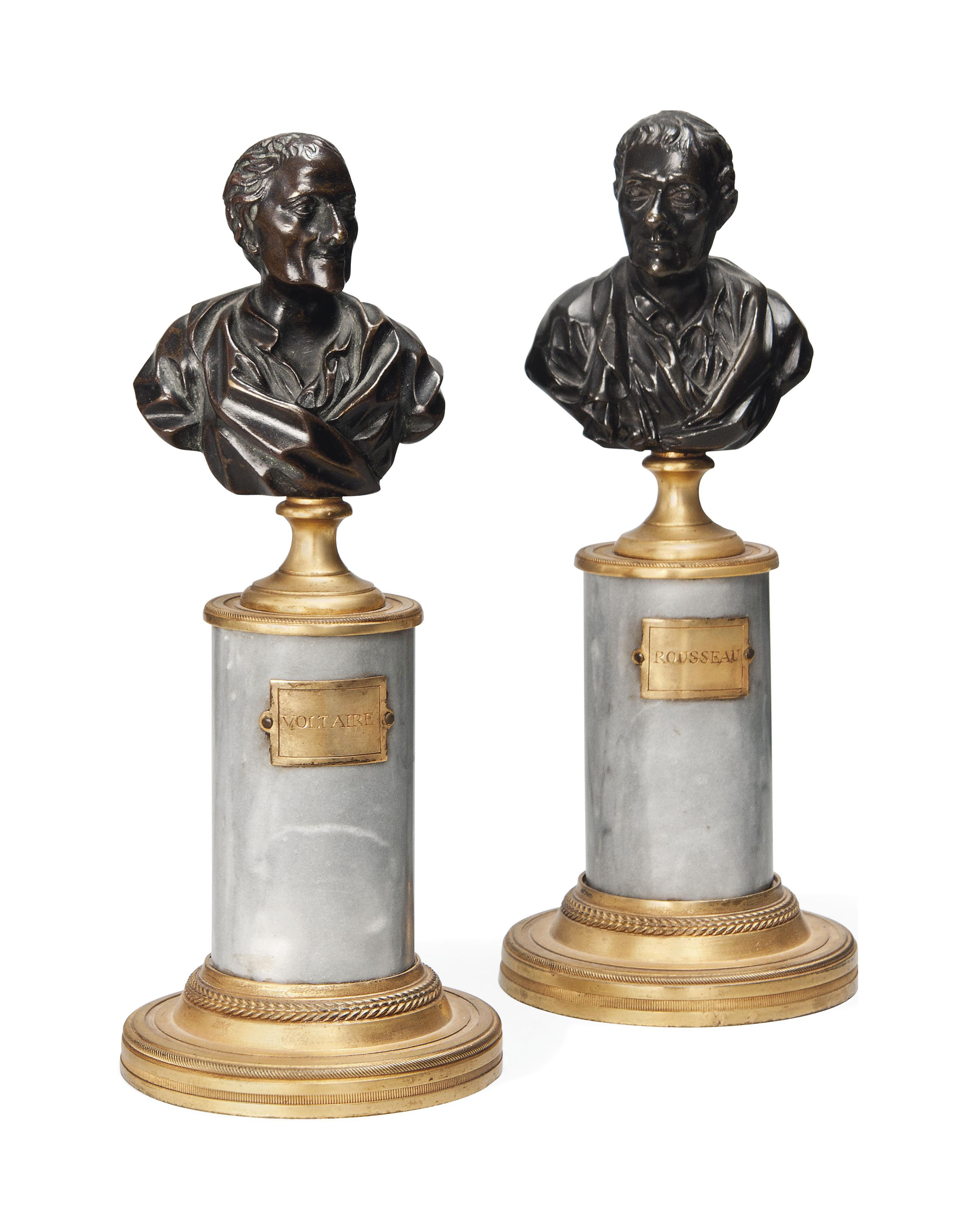 A PAIR OF FRENCH BRONZE BUSTS OF VOLTAIRE AND ROUSSEAU