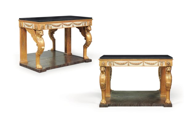 A PAIR OF EMPIRE-STYLE PARCEL-