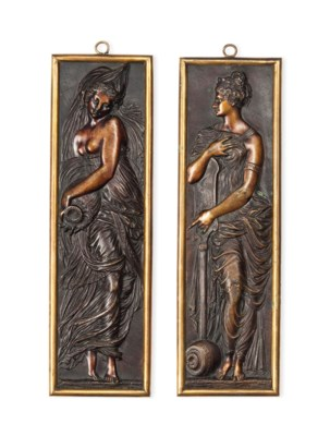 TWO FRENCH BRONZE FIGURAL PLAQ