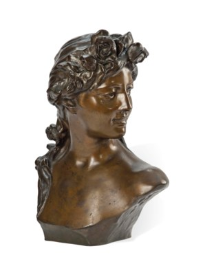 A BELGIAN BRONZE BUST OF A YOU