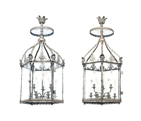 A PAIR OF LARGE SILVERED-BRASS