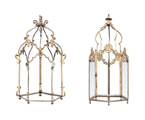 TWO FRENCH GILT-BRASS HALL LAN