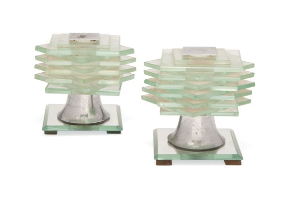 A PAIR OF GLASS AND NICKEL-PLA