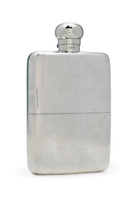 A LARGE SILVER SPIRITS FLASK