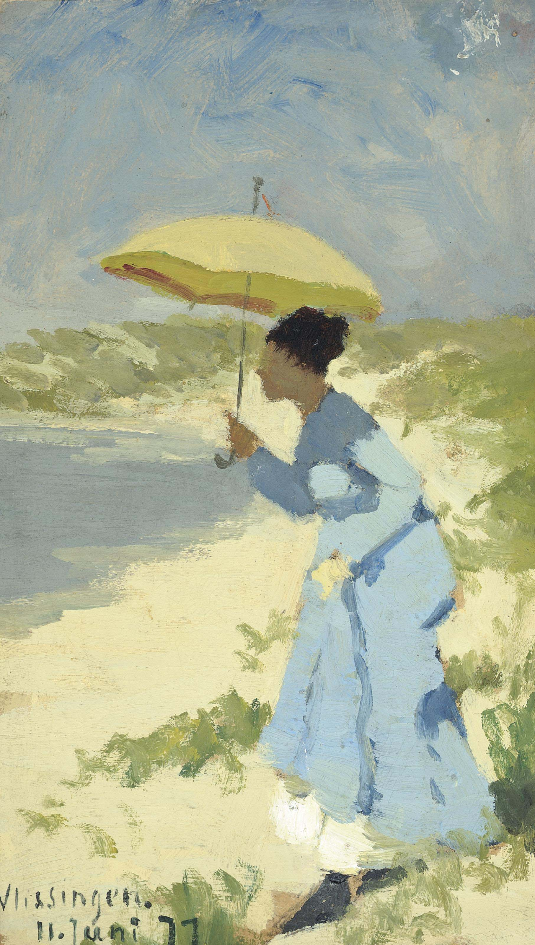A lady on the beach under a parasol
