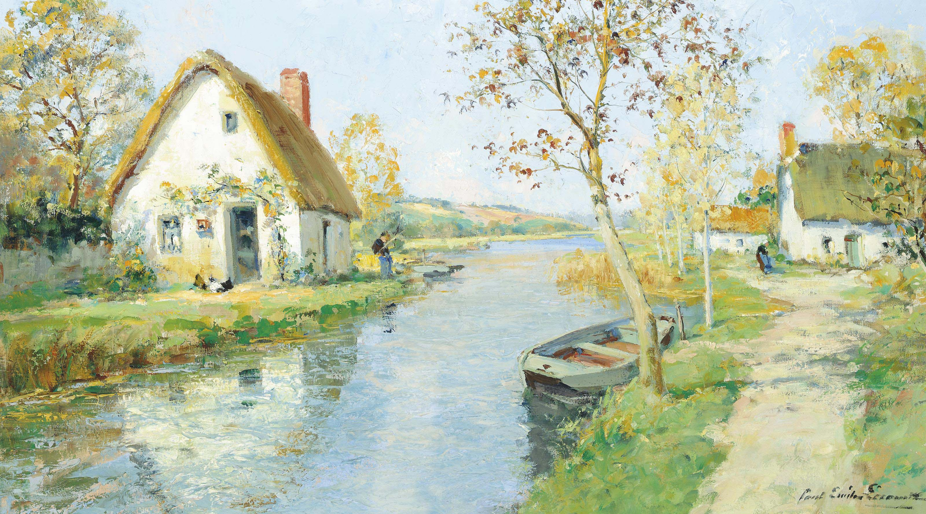 Fishing at a riverside cottage