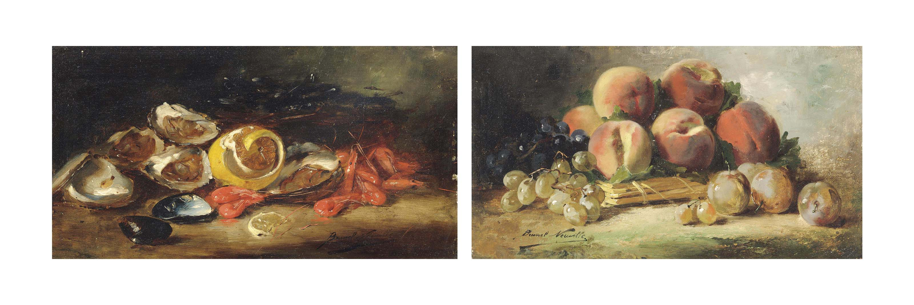 Oysters, shrimps and mussels with a lemon; and Peaches, grapes and plums