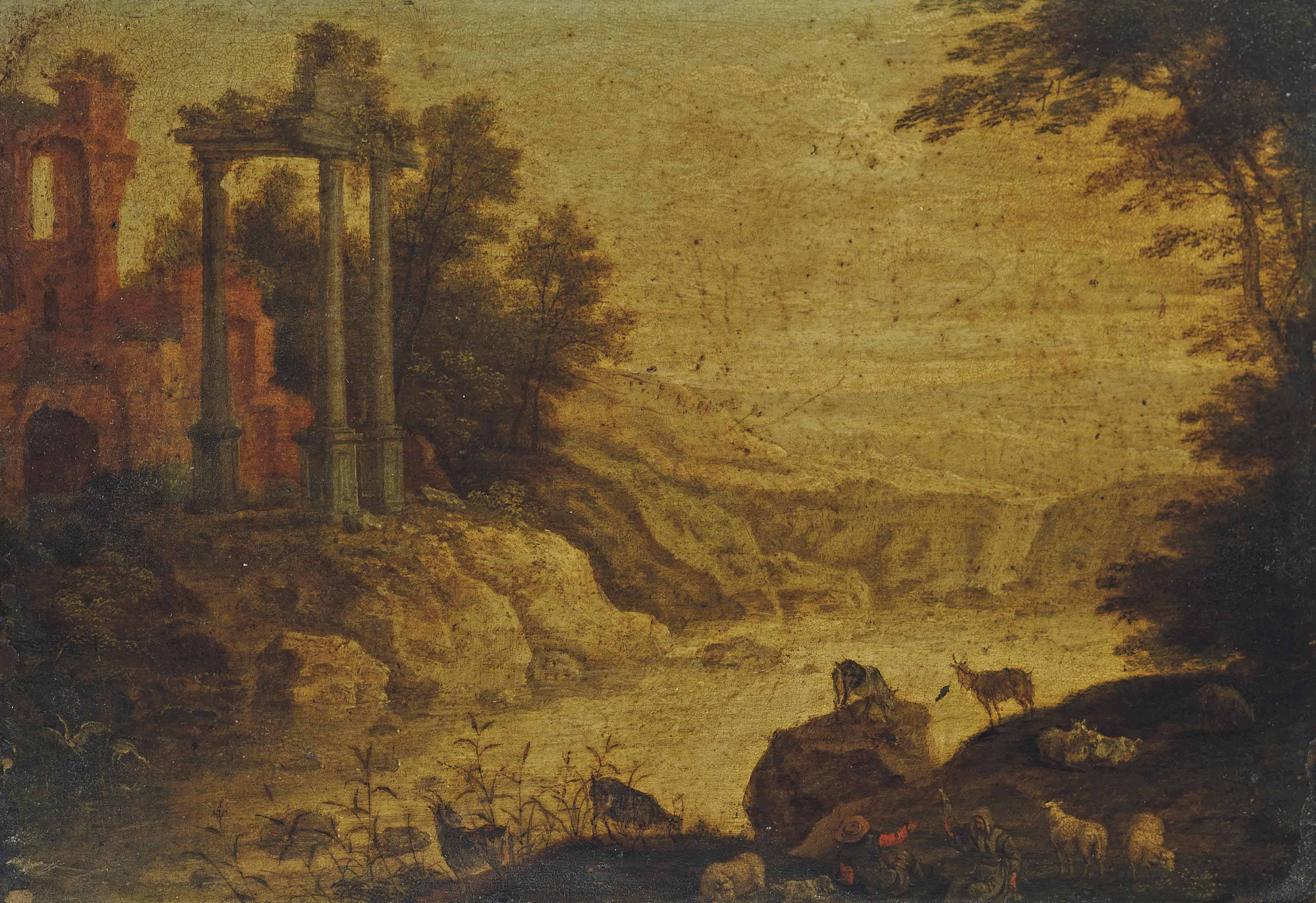 A river landscape with a capriccio of architectural ruins and shepherds at rest on the bank