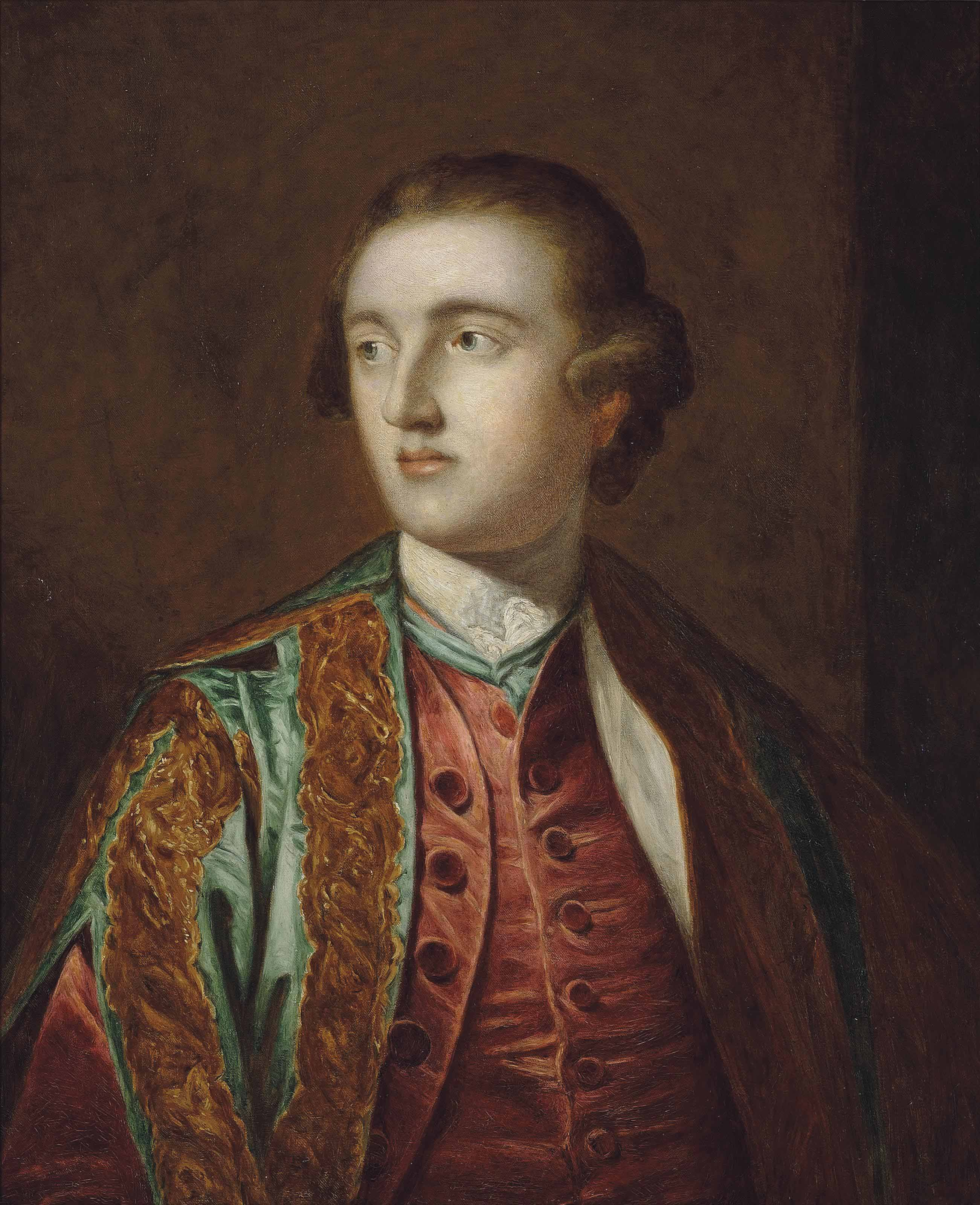 Portrait of Henry, 5th Duke of Beaufort, K.G. (1744-1803), bust-length, in a green embroidered coat