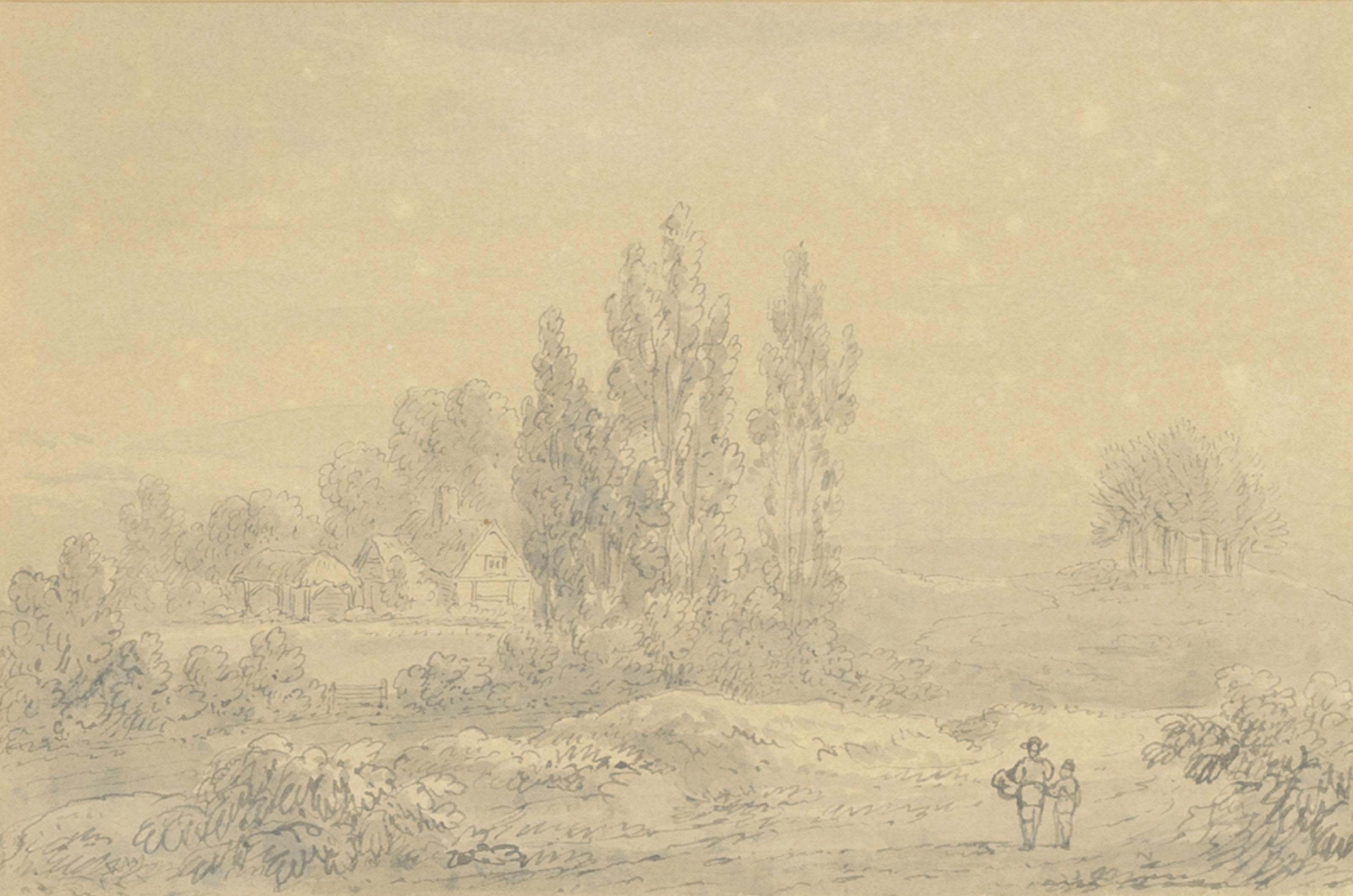 Shepherds with their flock in a wooded hollow (illustrated); and Two figures near a farm in an extensive landscape