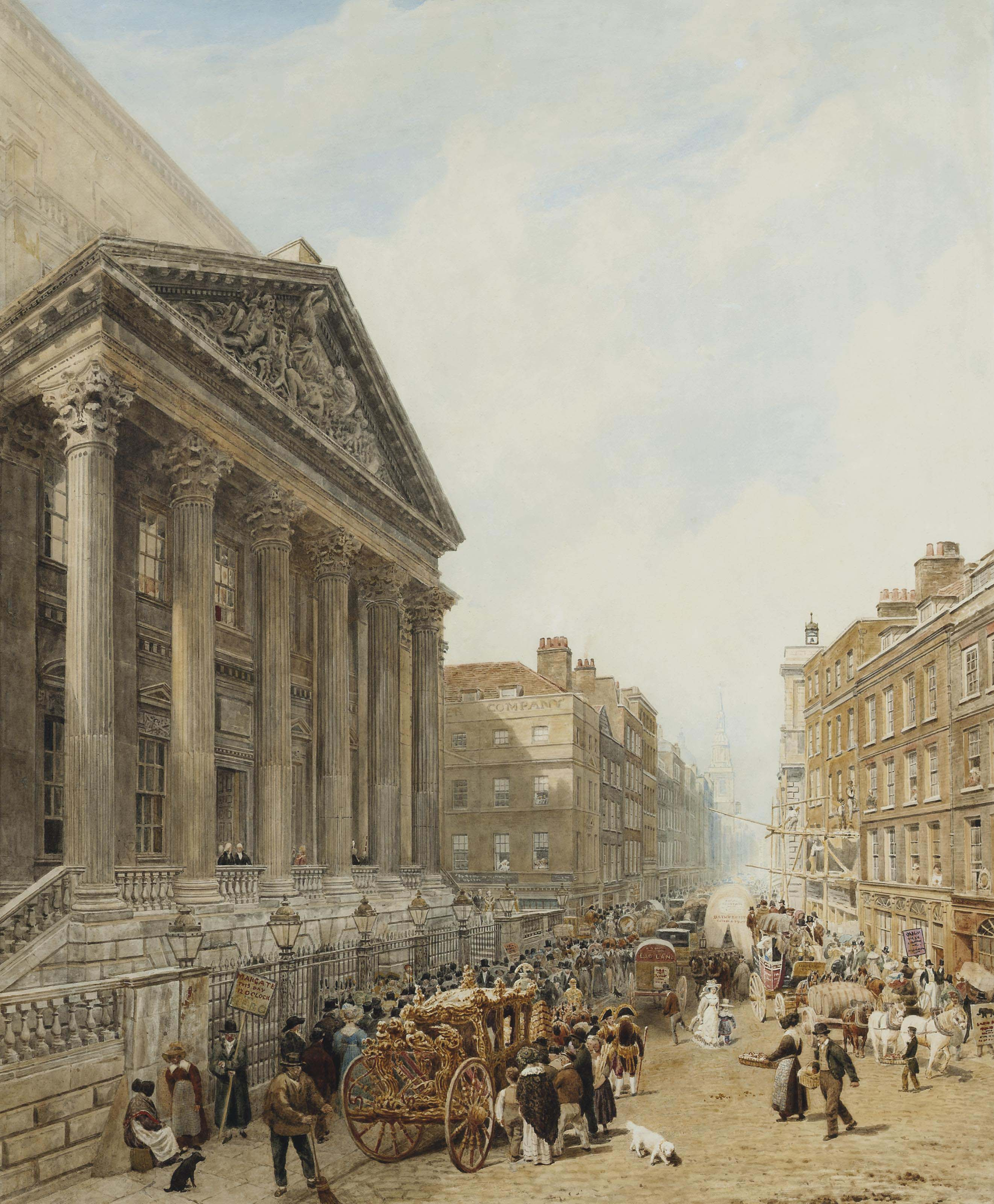 The Mansion House from Poultry looking down Cheapside towards St-Mary-le-Bow with the Lord Mayor's coach in the foreground