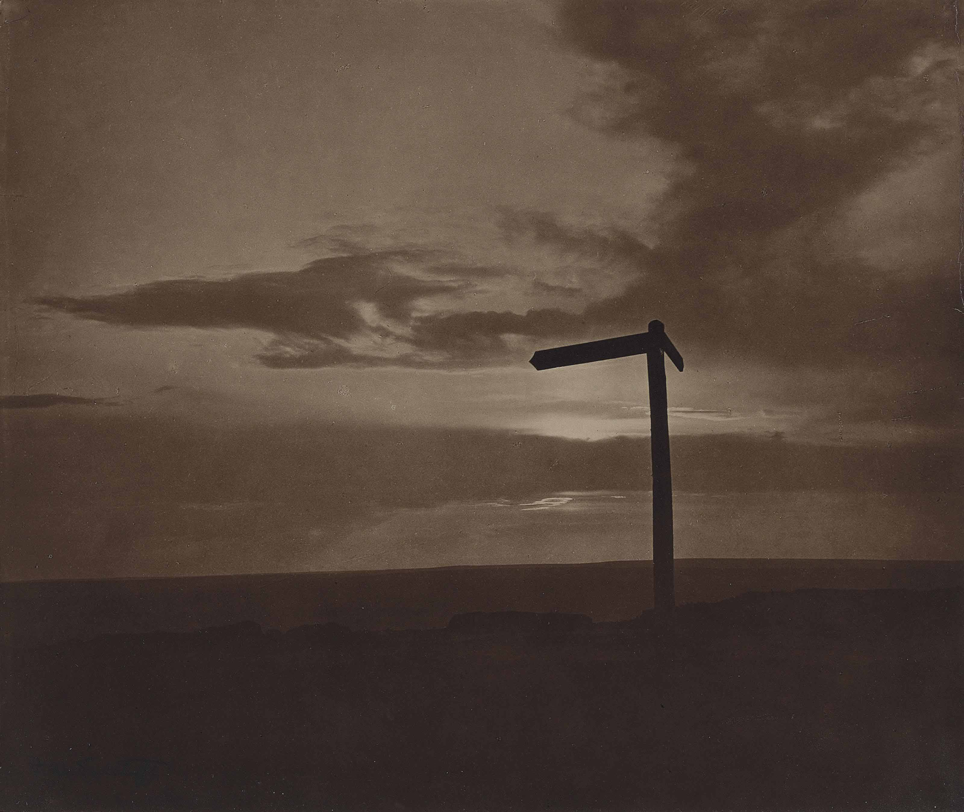 Untitled (Signpost at sunset), c. 1890