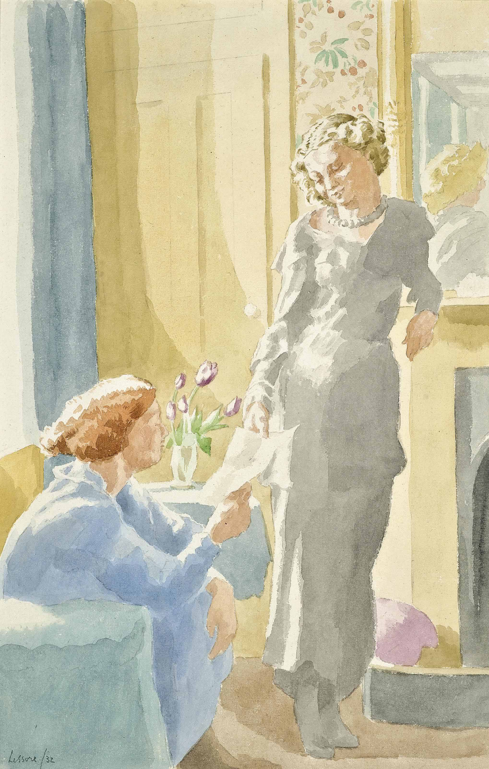 Lady Pansy and a companion in an interior