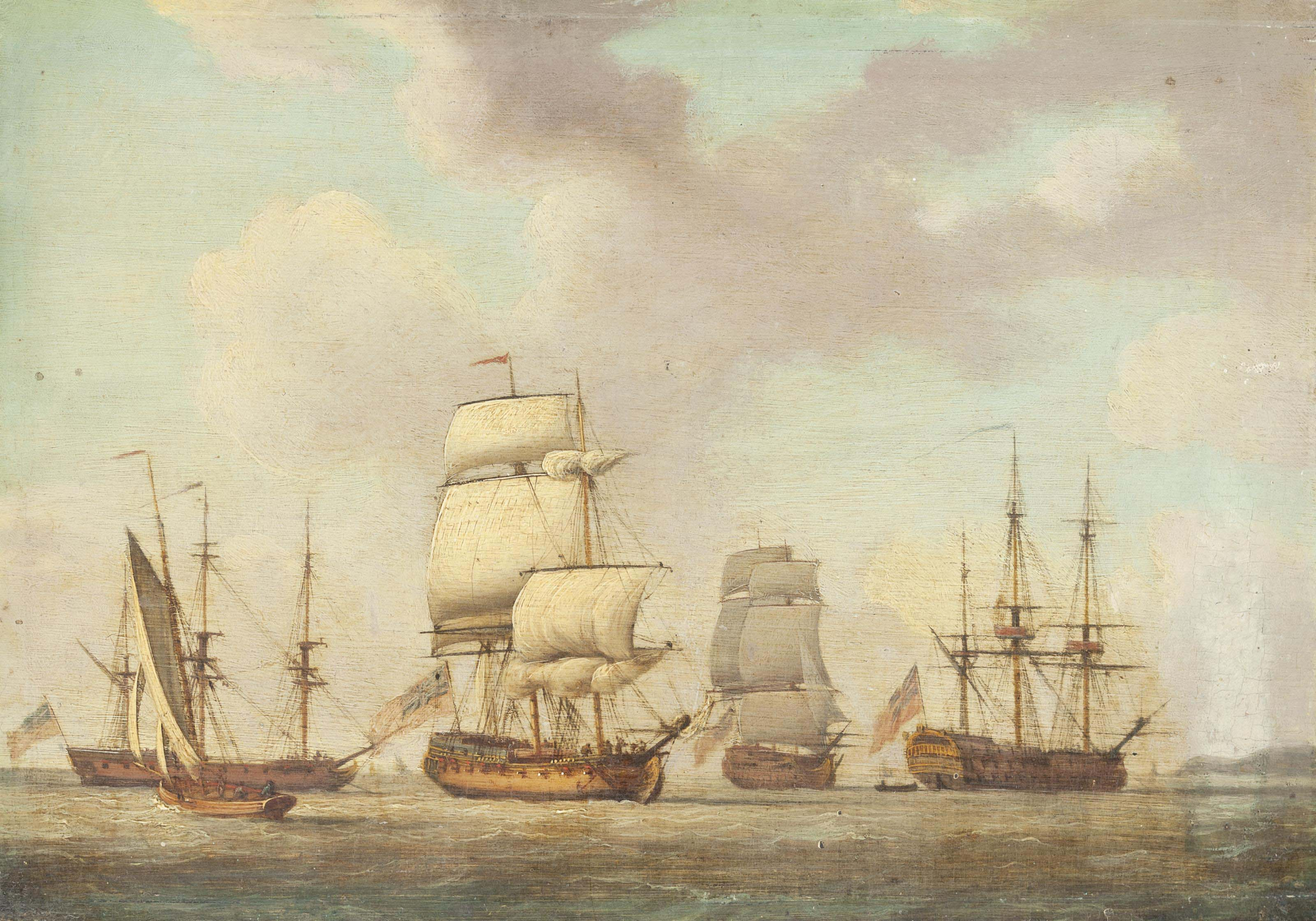 Ships of the fleet getting underway from the anchorage at Spithead