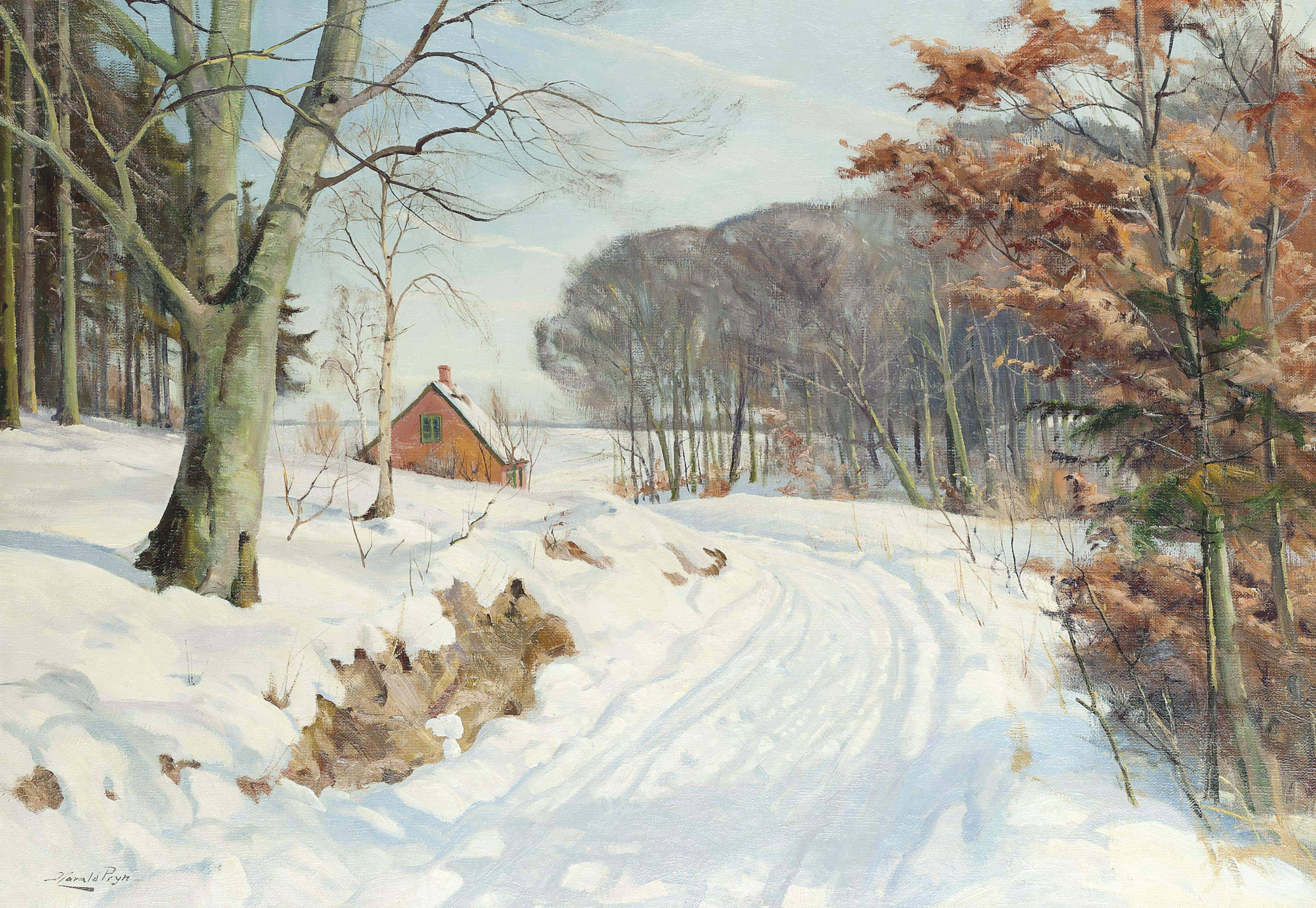 A cottage on a snowy track; and another similar