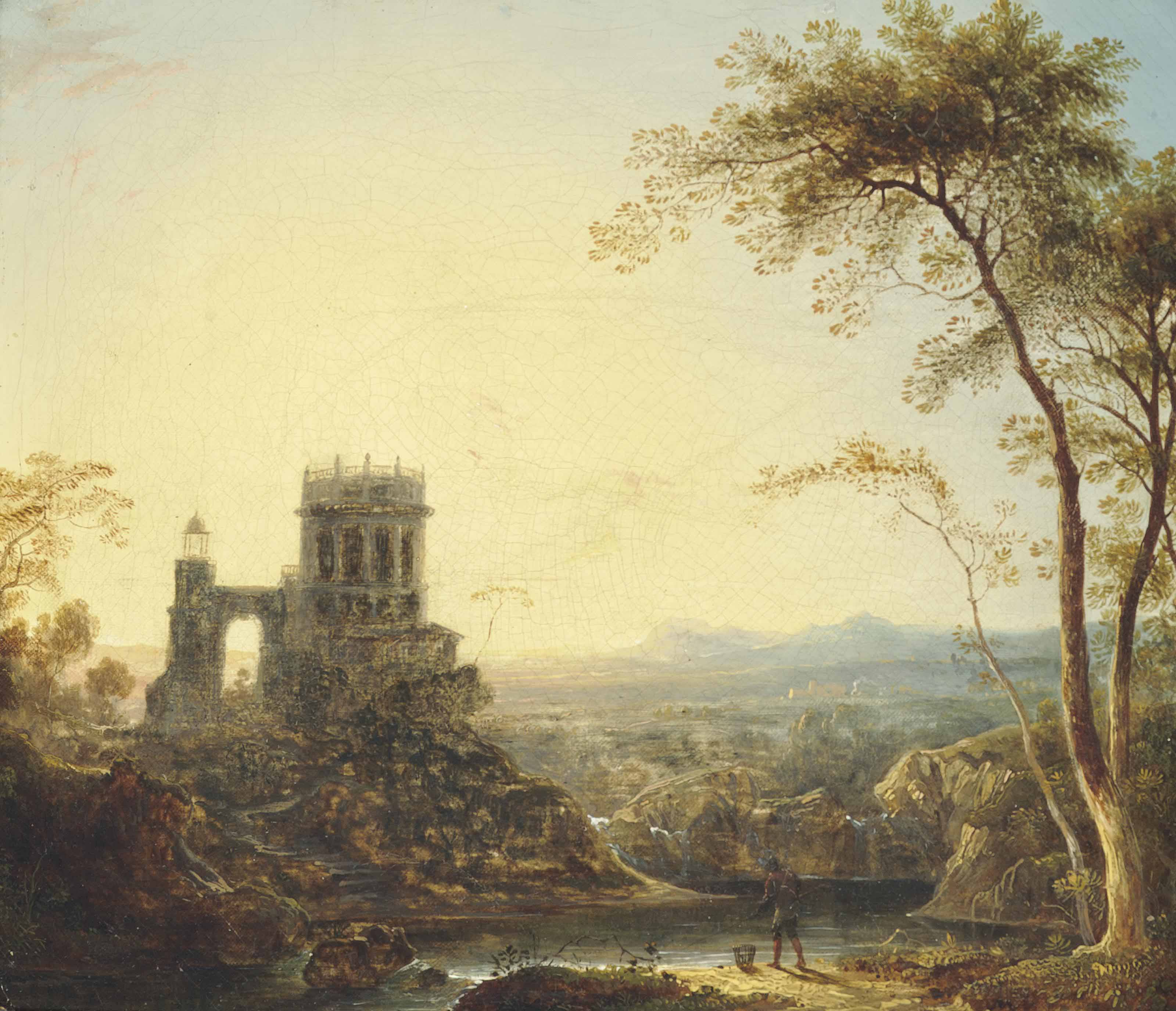 An extensive river landscape with a fisherman by the shore, before a tower