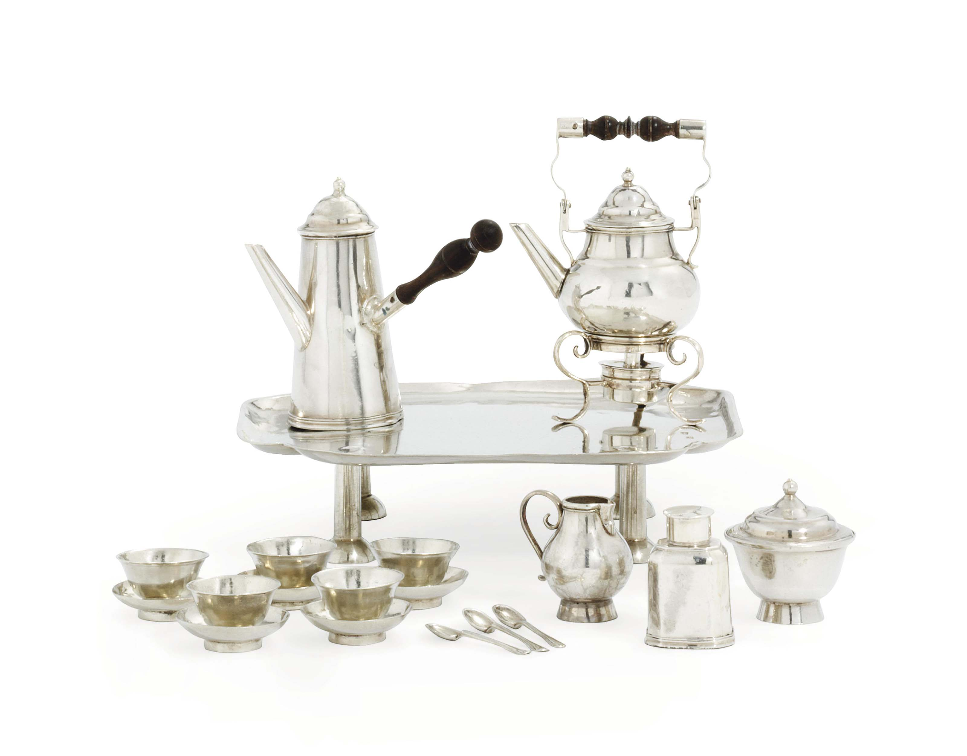 A GEORGE I SILVER TOY TEA AND COFFEE-SERVICE