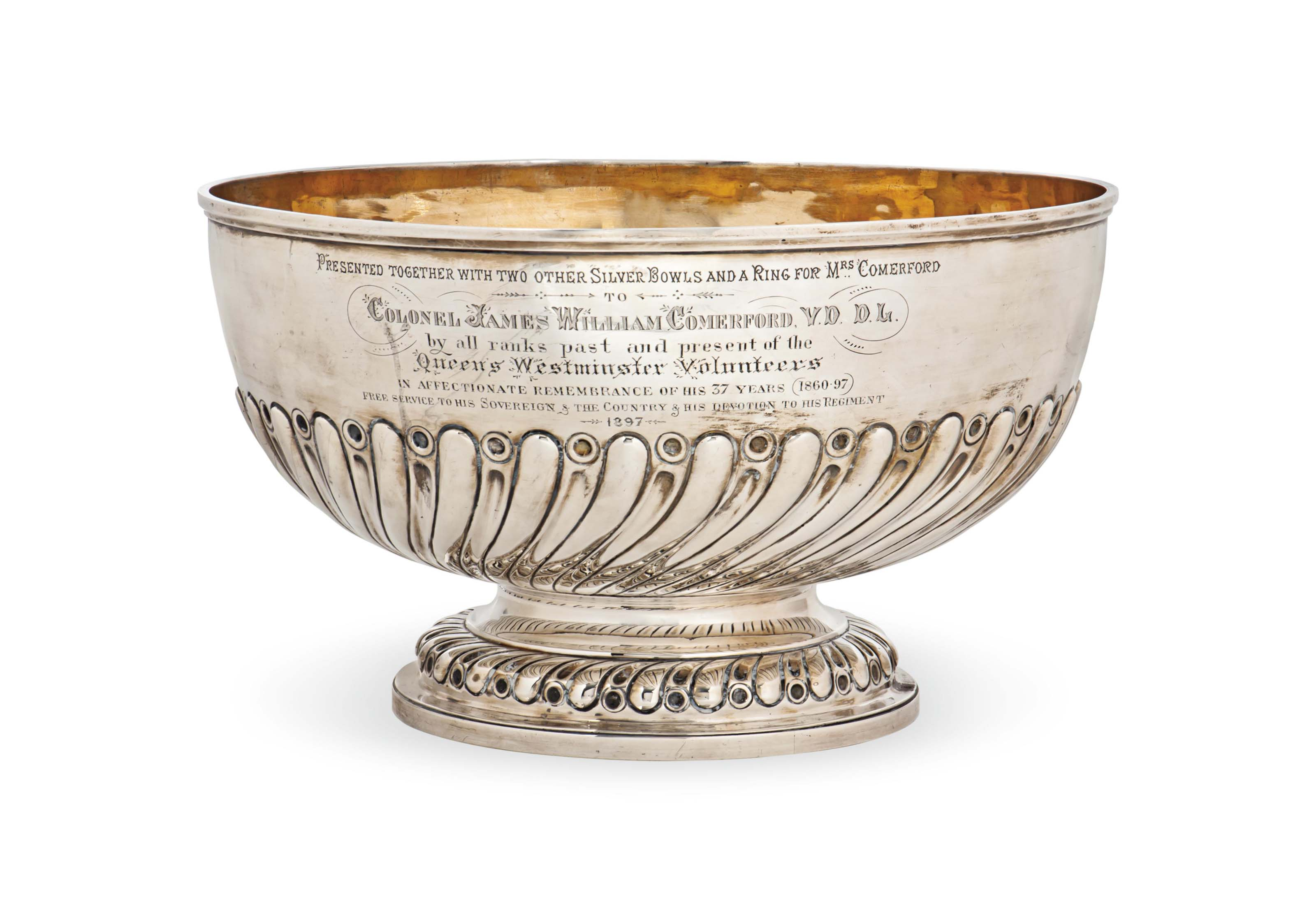 A VICTORIAN SILVER PUNCH BOWL