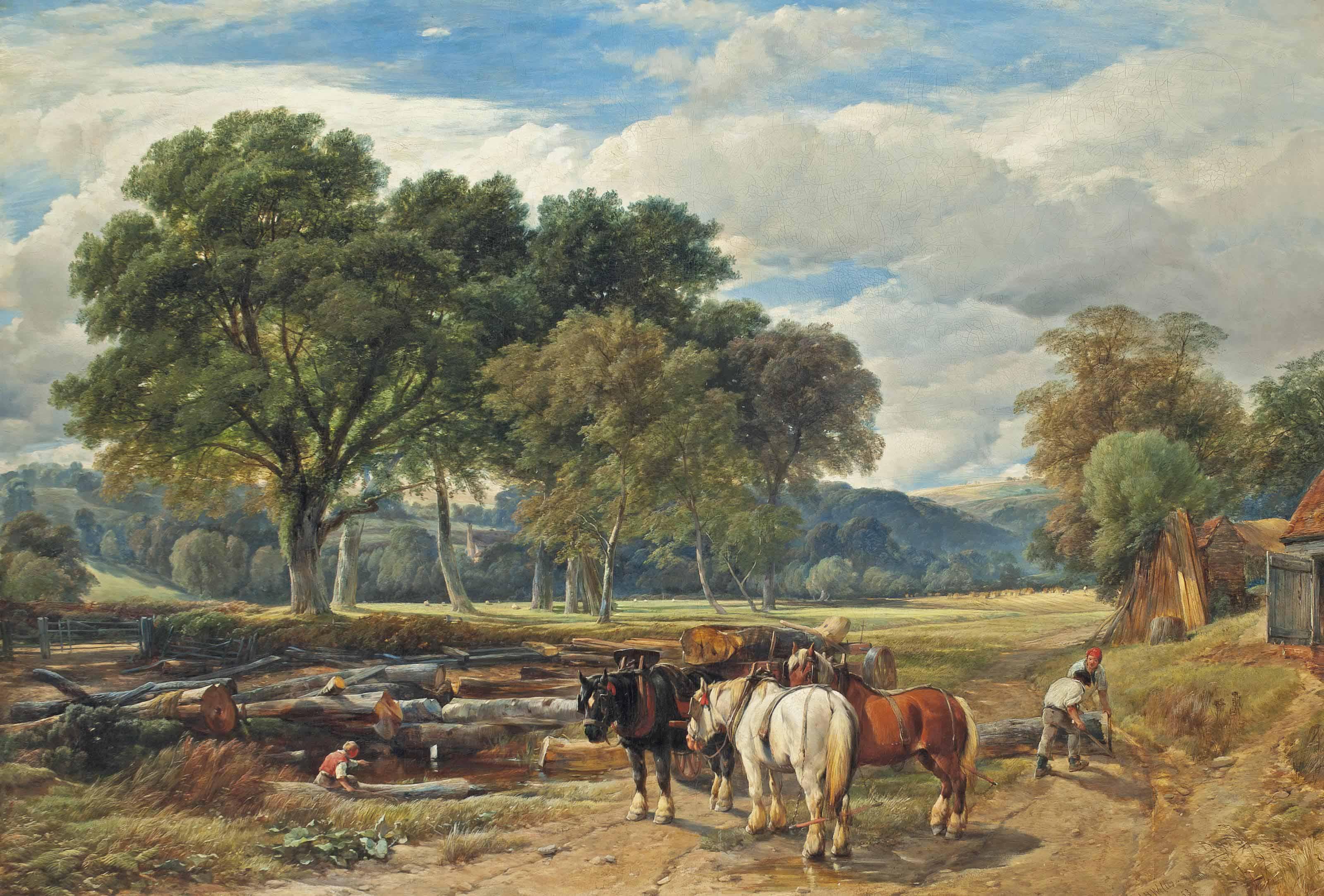 Loggers in an extensive summer landscape
