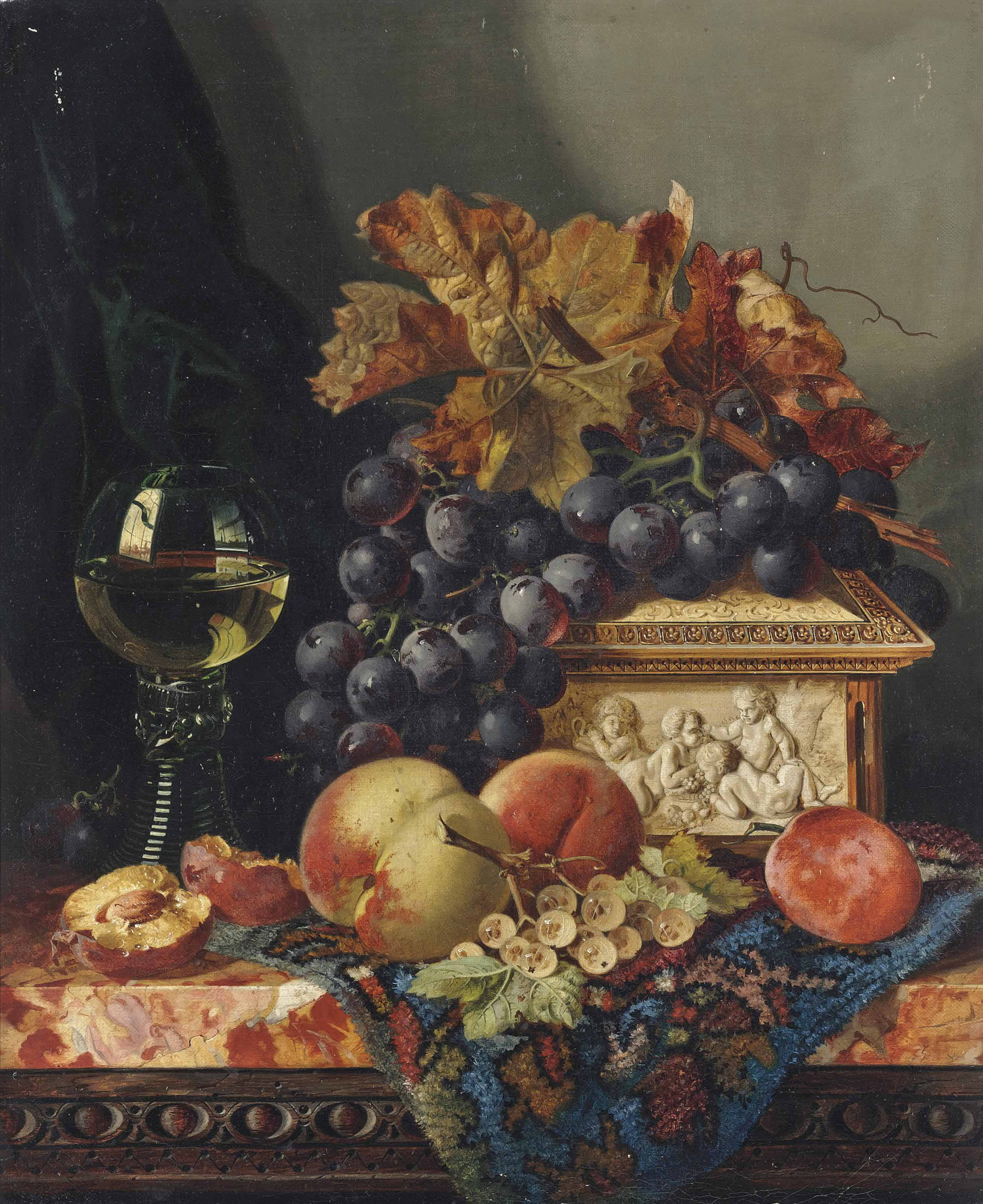 A glass of wine, grapes, peaches, white currants, and an ivory box, on a marble ledge