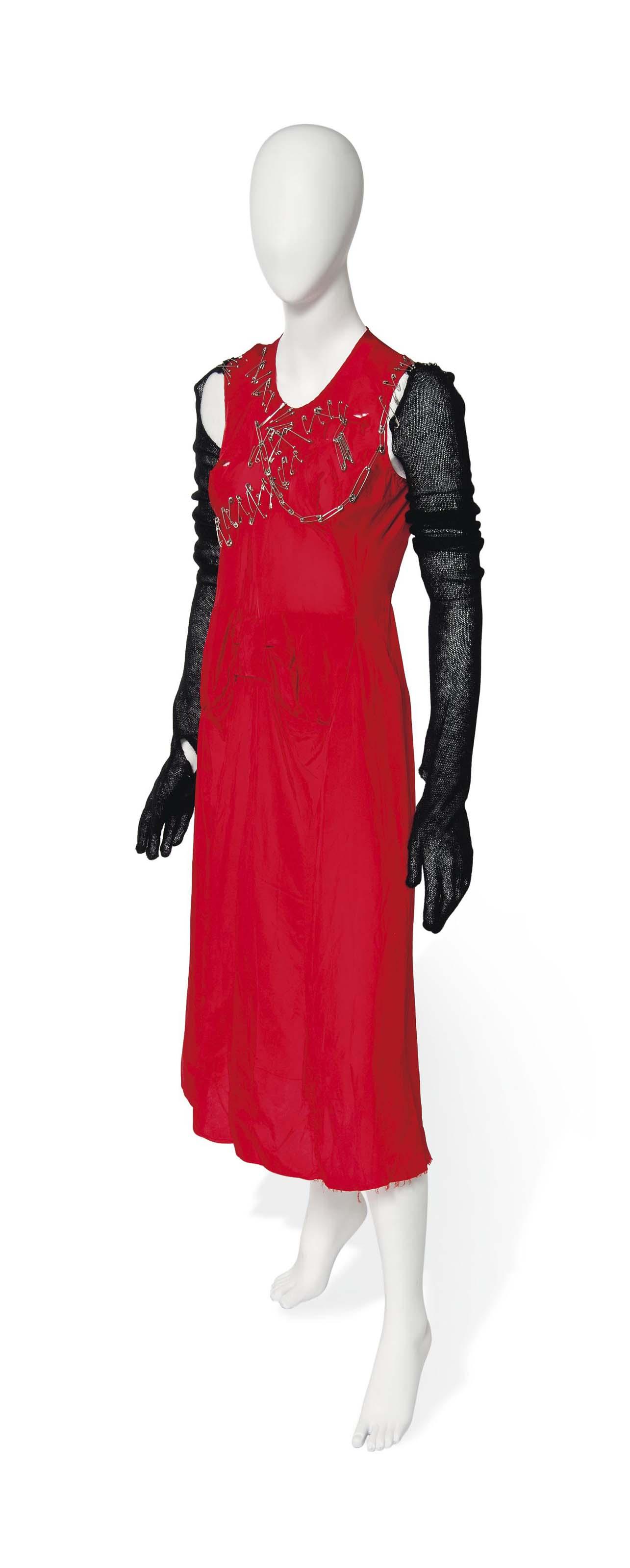 A JUNYA WATANABE FOR COMME DES GARÇONS RED PUNK STYLE DRESS