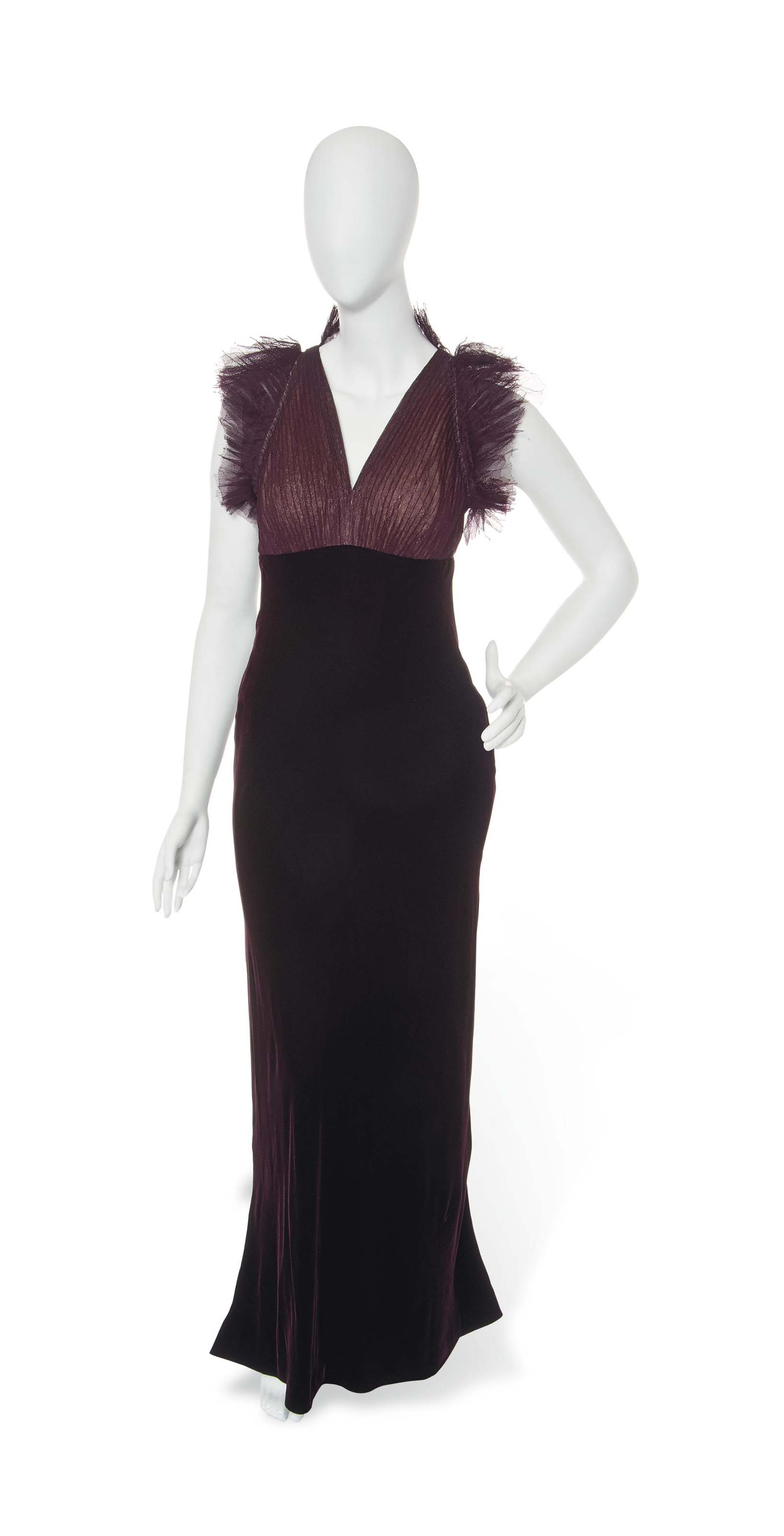 A JEAN PAUL GAULTIER BURGUNDY LACE AND VELVET EVENING GOWN AND BLACK COCKTAIL DRESS