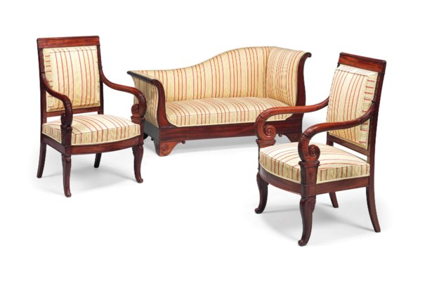 A matched louis philippe mahogany three piece salon suite for Salon louis philippe