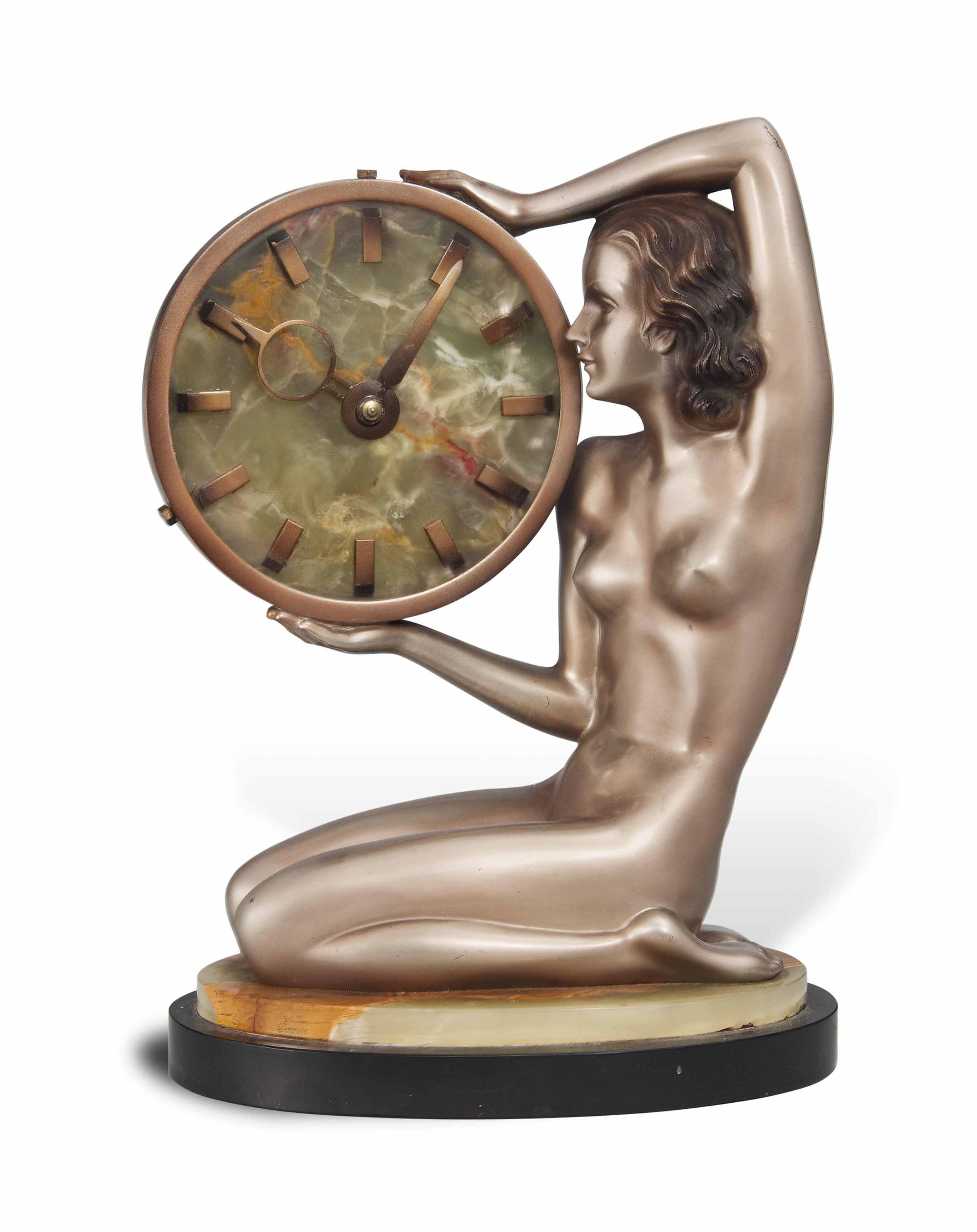 A JOSEF LORENZL (1892-1950) COLD-PAINTED BRONZE AND ONYX TIMEPIECE