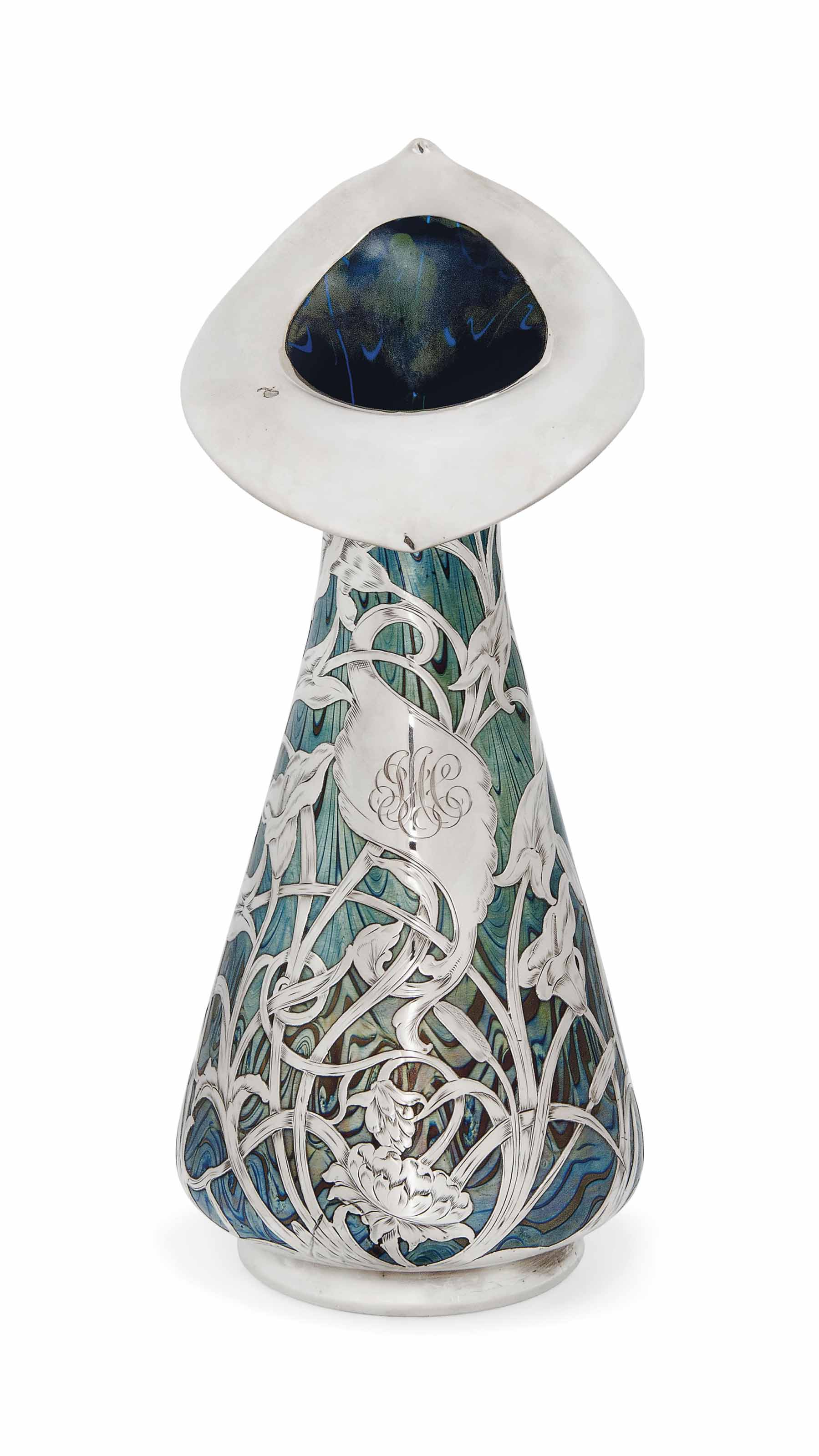 AN UNUSUALLY LARGE LOETZ IRIDESCENT GLASS VASE WITH SILVER APPLIQUÉ