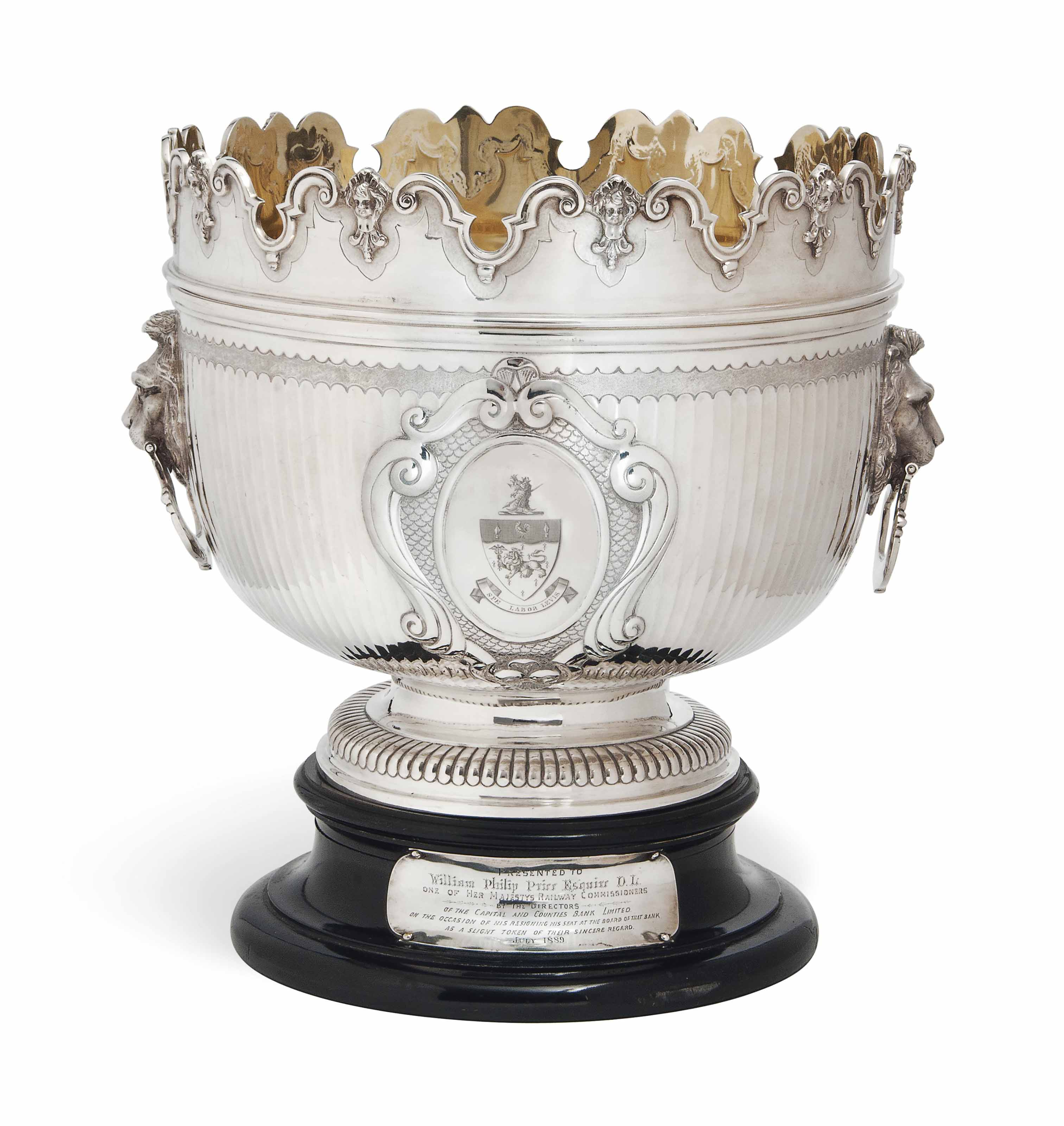 A VICTORIAN SILVER REPRODUCTION OF A WILLIAM III MONTEITH