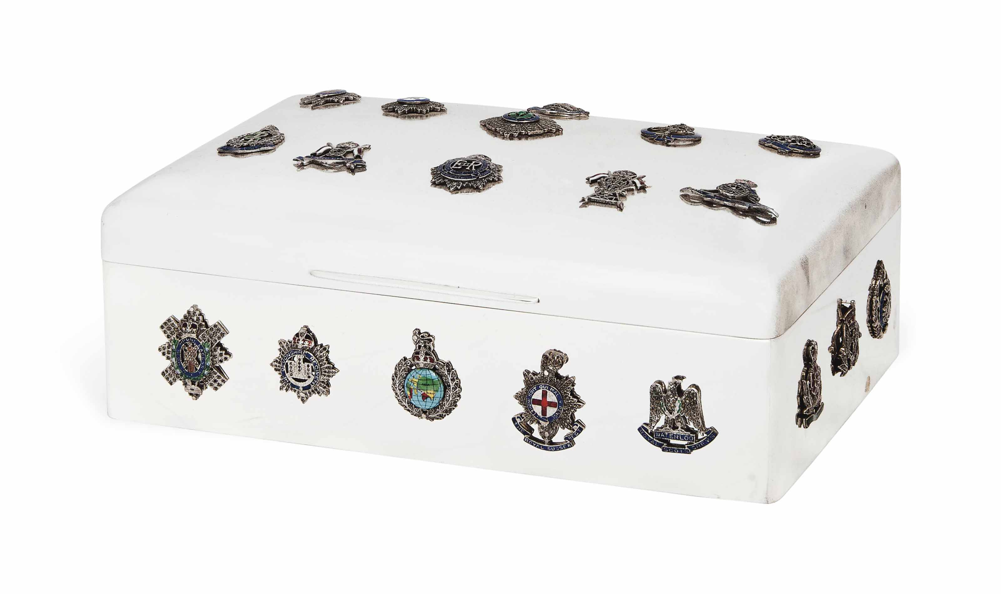 MILITARY INTEREST:- AN EDWARDIAN SILVER CIGAR BOX