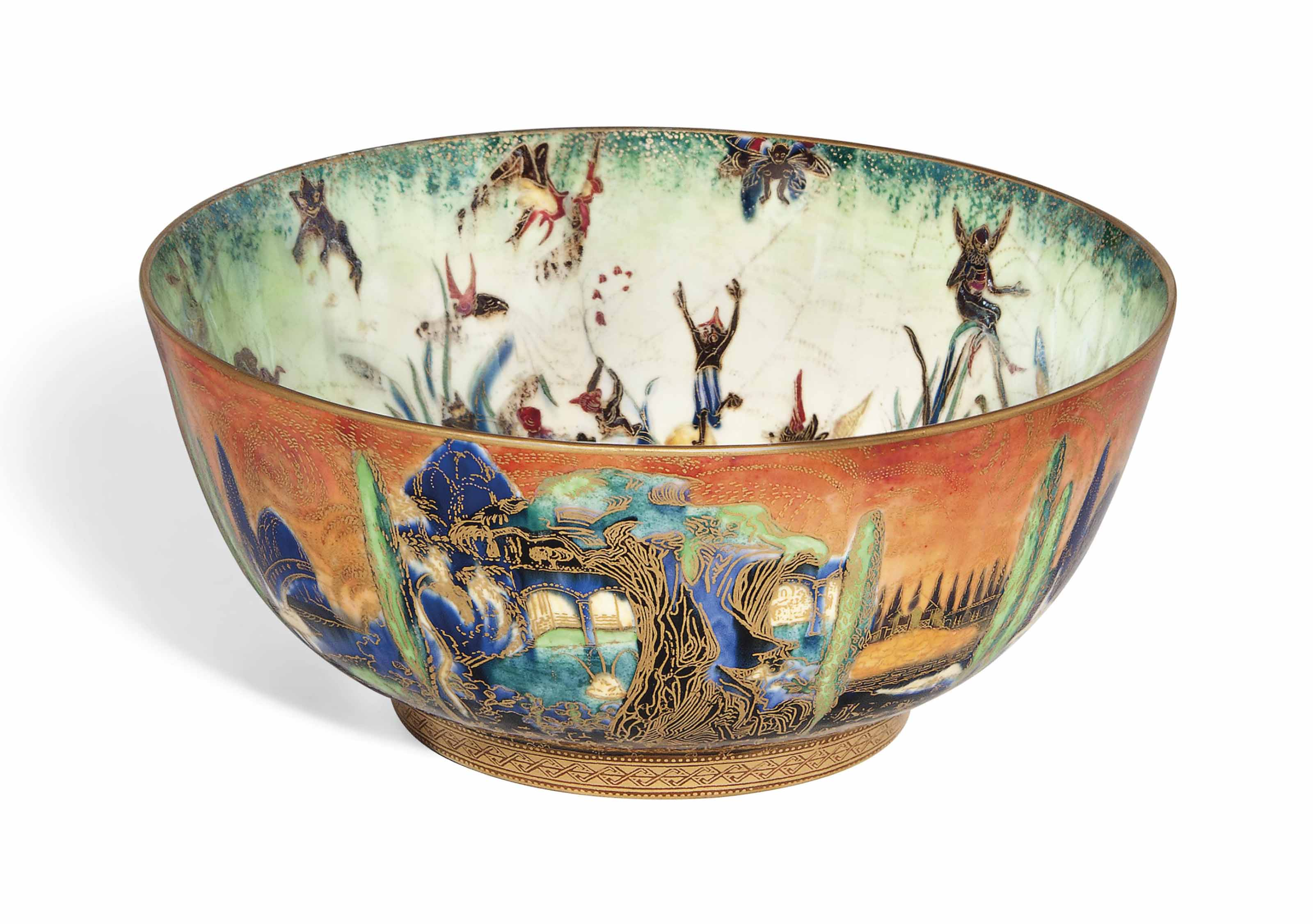 A WEDGWOOD FAIRYLAND LUSTRE 'POPLAR TREES AND FLAME' IMPERIAL CERAMIC BOWL DESIGNED BY DAISY MAKEIG-JONES