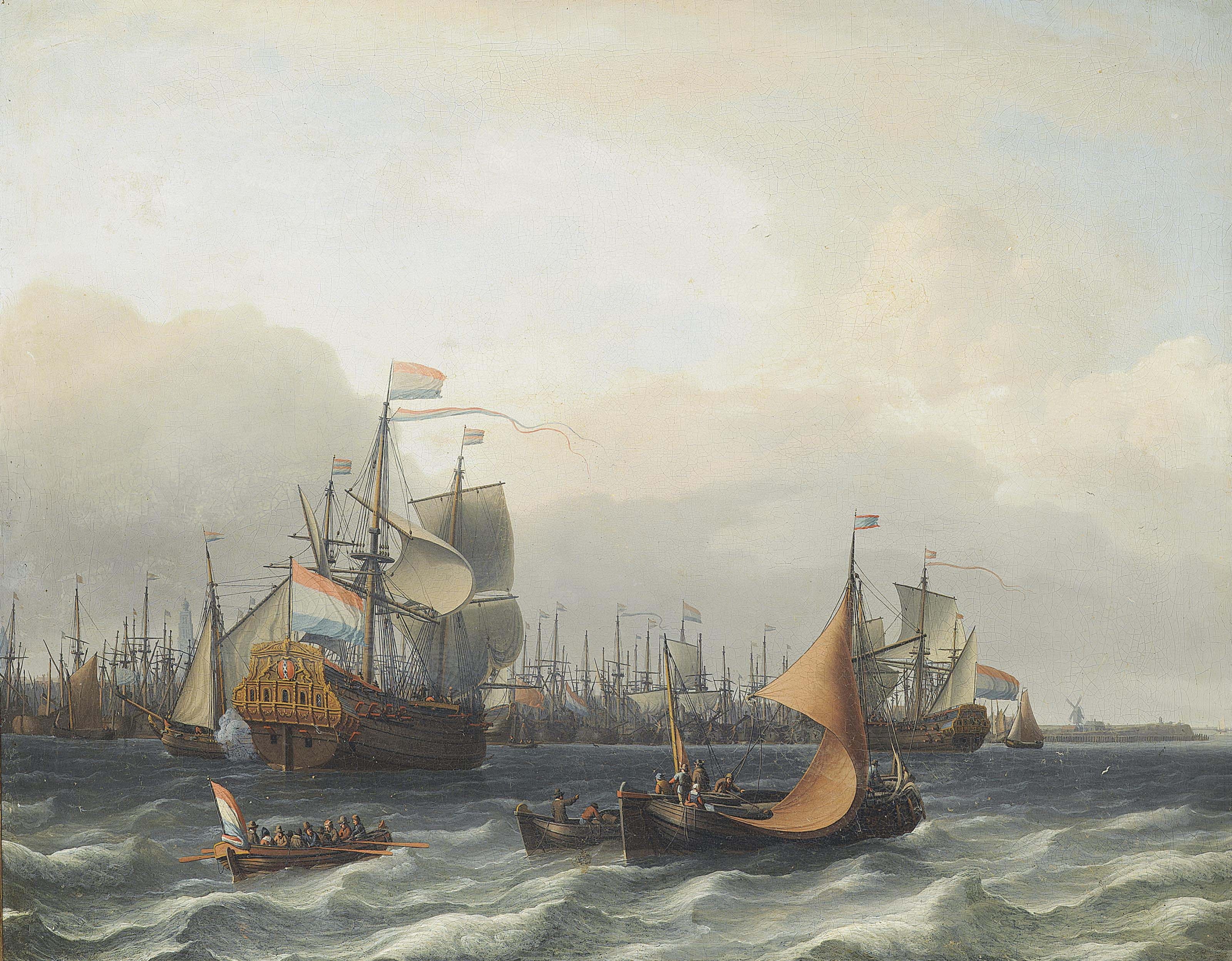The Dutch fleet lying in the harbour at Amsterdam, with the flagship approaching