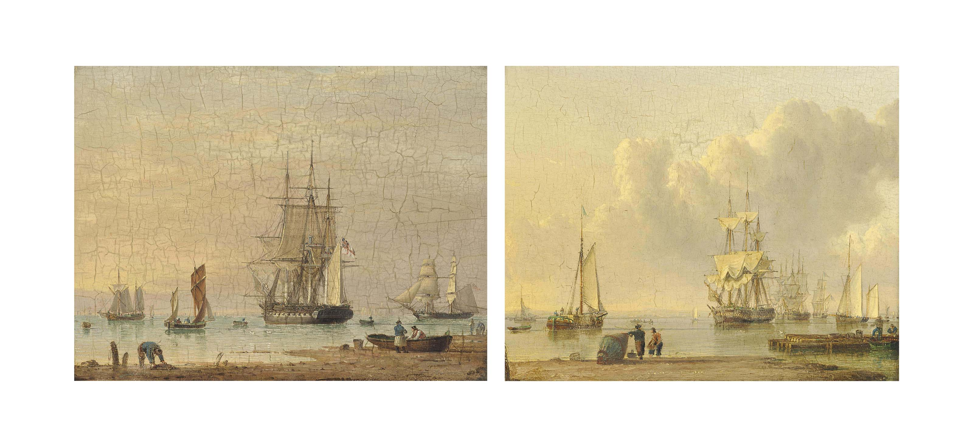 A Royal Navy frigate drifting from her anchorage on the Humber; and Shipping becalmed on the Humber (both illustrated)