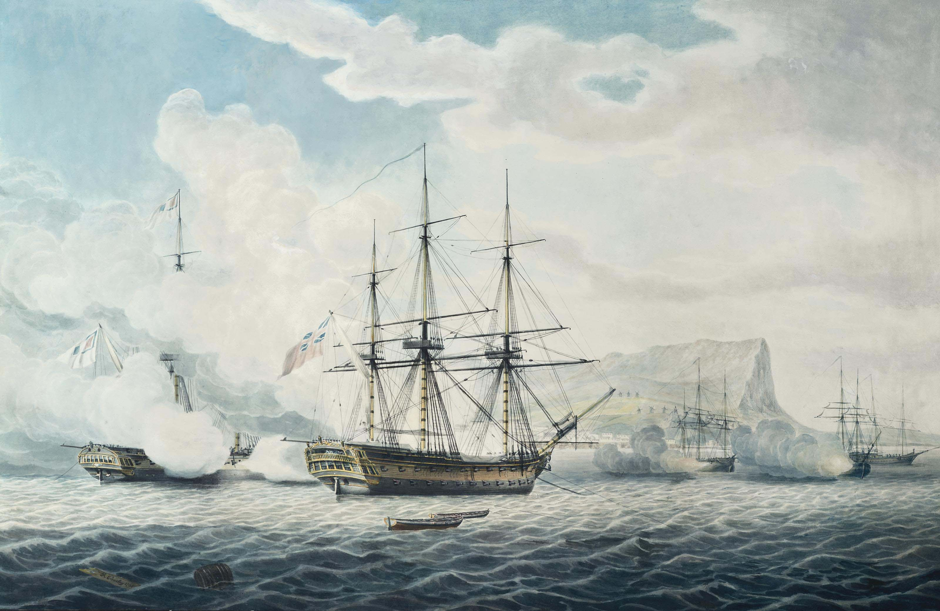 H.M.S. Romney capturing the French 44-gun Sybille and three merchantmen in the roads off Mykonos, Greece, 17th June 1794