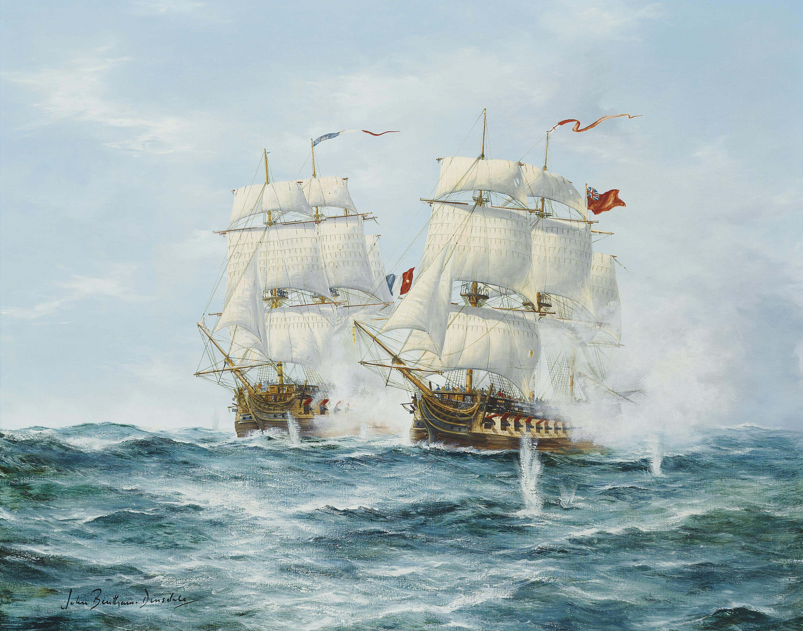 H.M.S. Dryad engaging the French frigate Prosperine, 13th June 1796