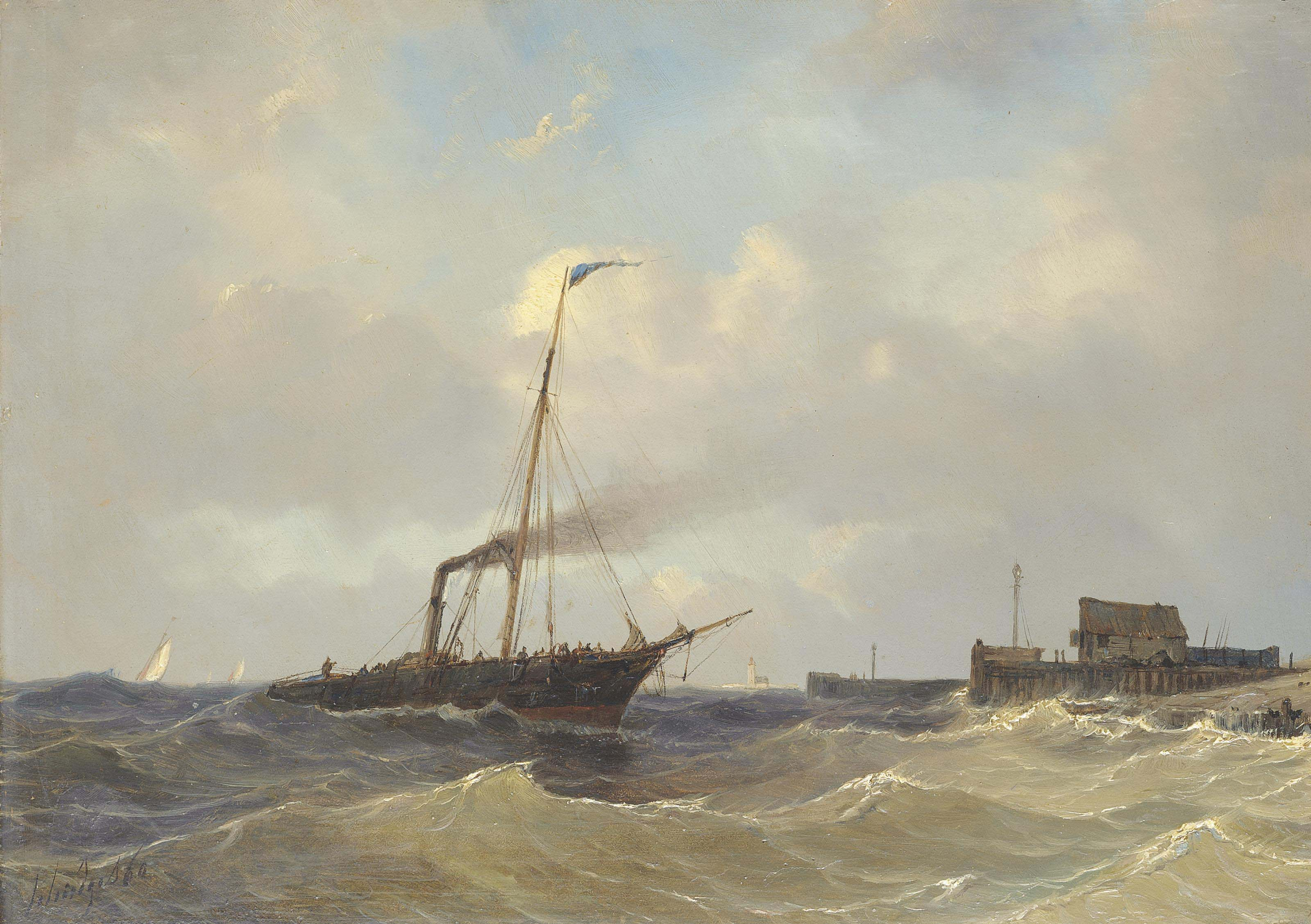 A steamer running inshore off the Low Countries