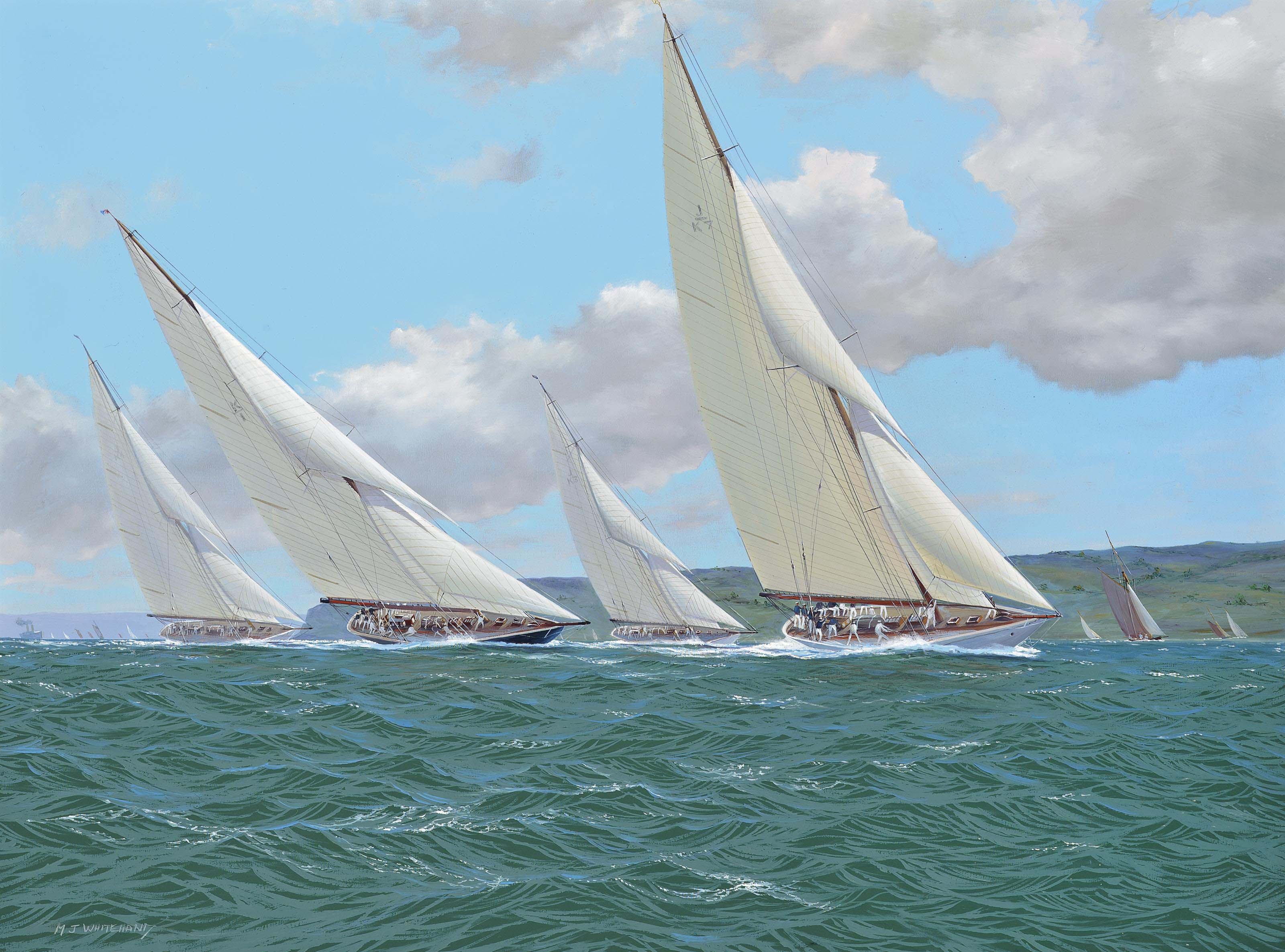 Four adversaries, Britannia, White Heather, Candida and Cambria, battling it out in the Solent