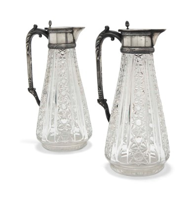 A PAIR OF RUSSIAN SILVER-MOUNT
