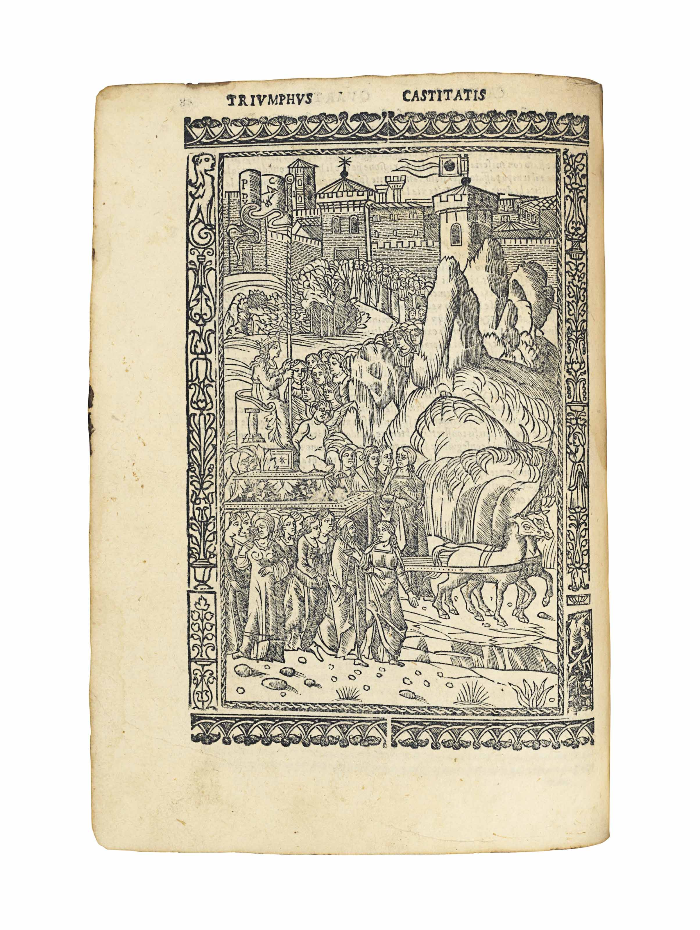 PETRARCA, Francesco (1304-1374). Triomphi di meser Francesco Petrarcha con la loro optima espositione. Venice: Gregorio de Gregorii, 1519. Part 2 (of 2) only, 4° (205 x 150mm). 6 full-page woodcuts and woodcut initials. (Final two leaves with repairs and burn holes causing loss, title remargined, marginal wormtracks sometimes crudely repaired, one full-page woodcut with small hole and torn with some loss, clean tear to 2F7, some browning, soiling and staining.) Later boards backed in vellum, gilt spine (some tiny wormholes to spine). Provenance: Biblioteca Prov. Ven. Letteraria (stamp on title and several other leaves) -- Biblioteca Classica Italiana (stamps on title) -- Collegio C. Arioi, Brescia (stamp on title) -- Compagnia del Gesú (book label).