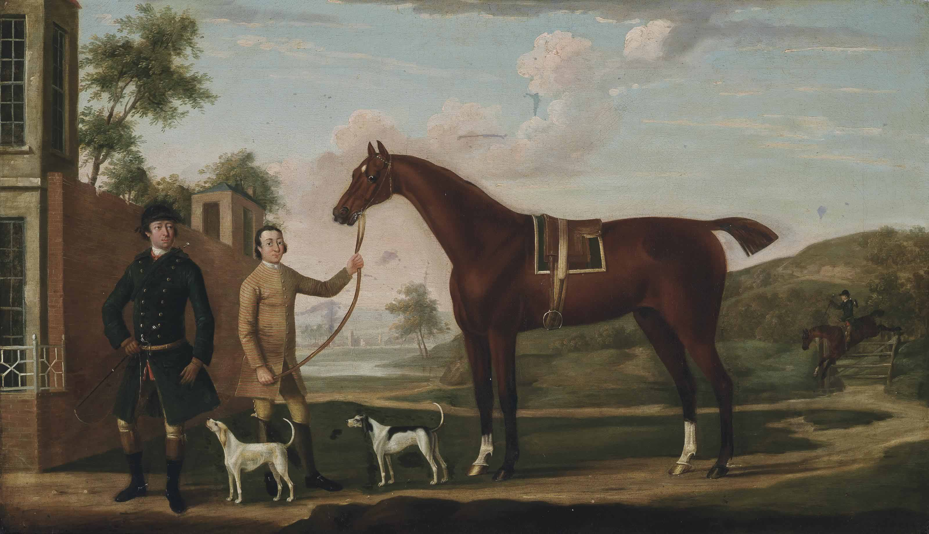 A huntsman with his chestnut hunter, held by a groom, with two hounds, an extensive landscape beyond
