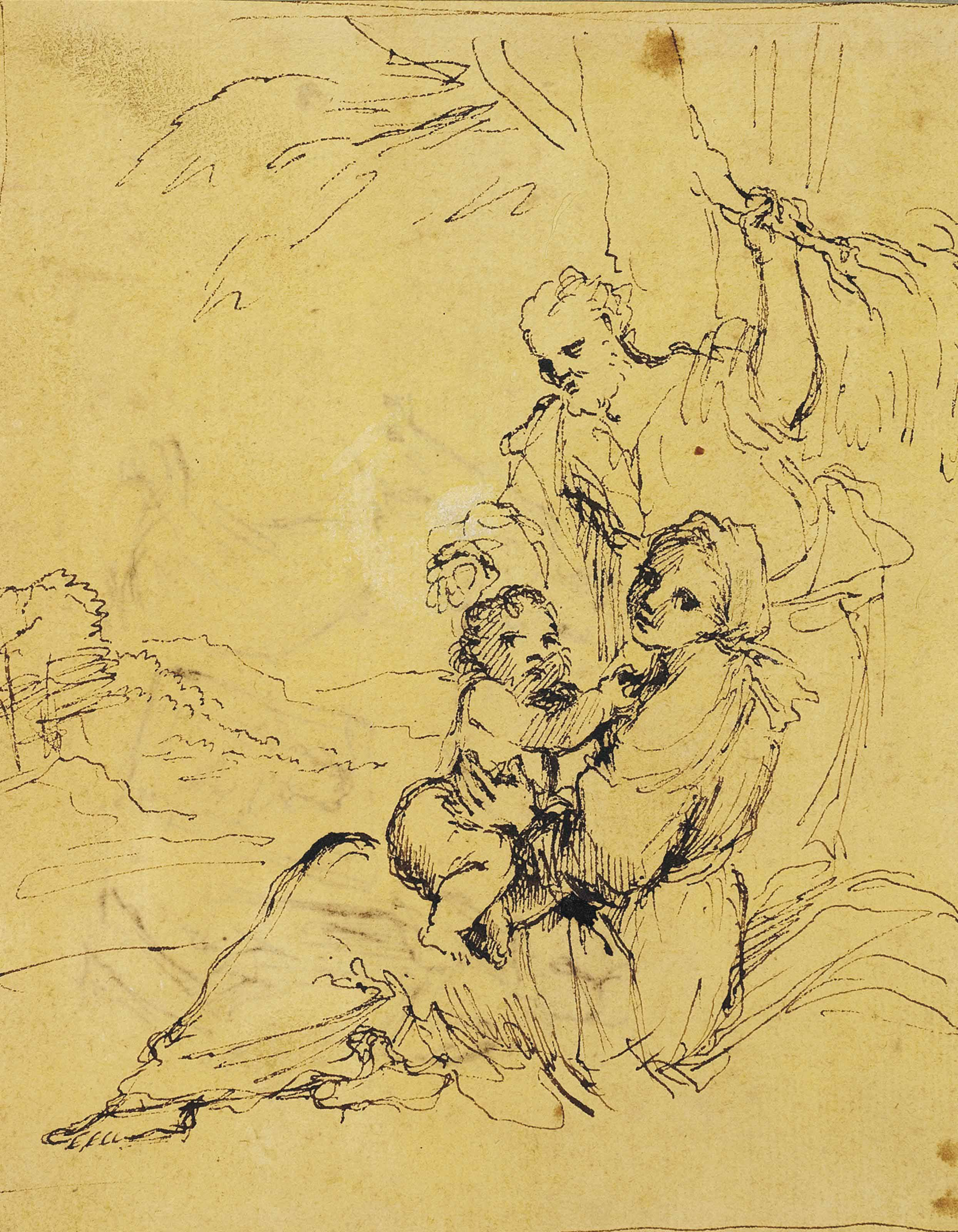 The Rest on the Flight into Egypt (recto); A scene of sorcery (verso)