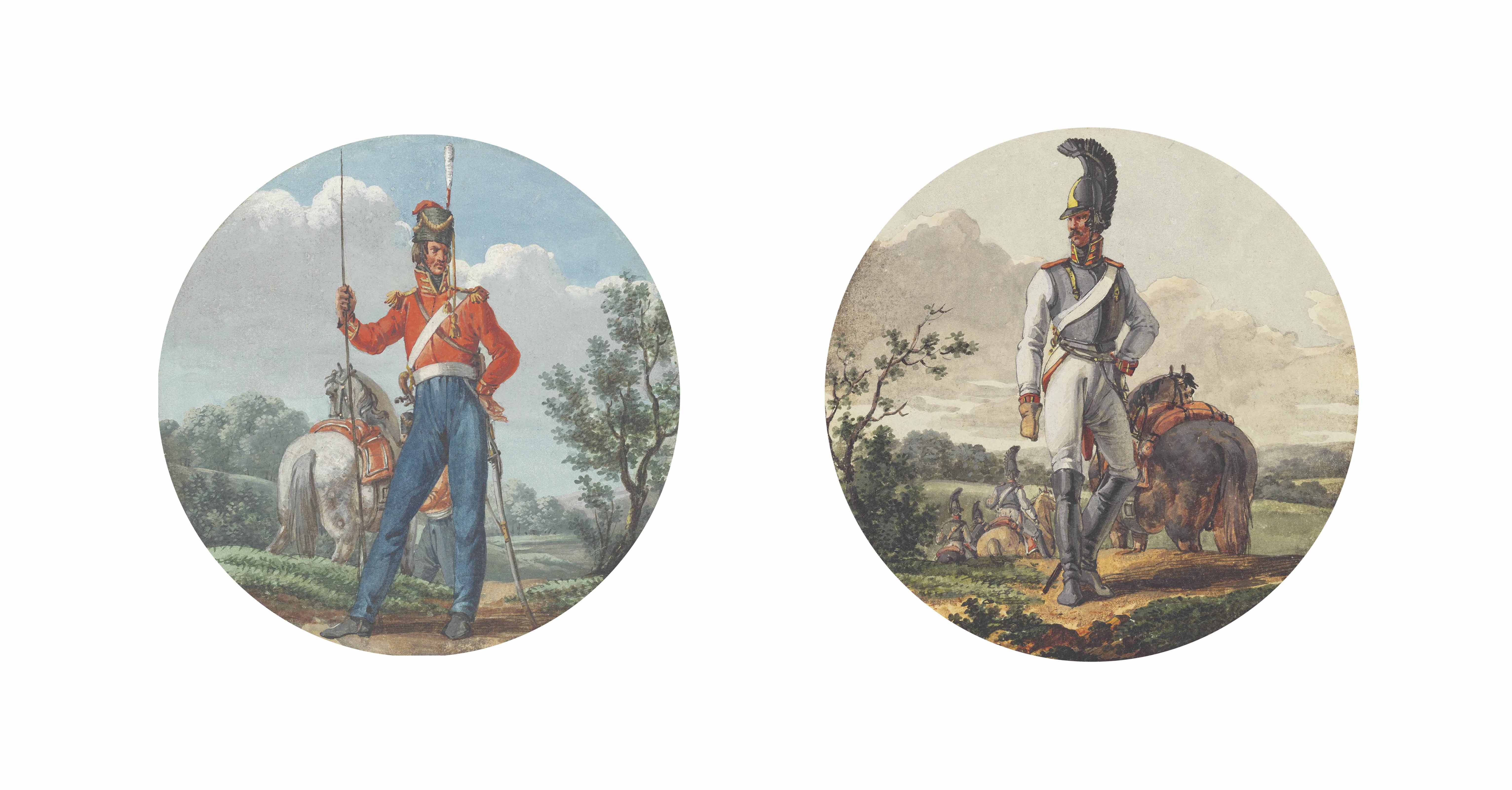 A Prussian lancer; A Prussian cuirassier; and A Prussian dragoon