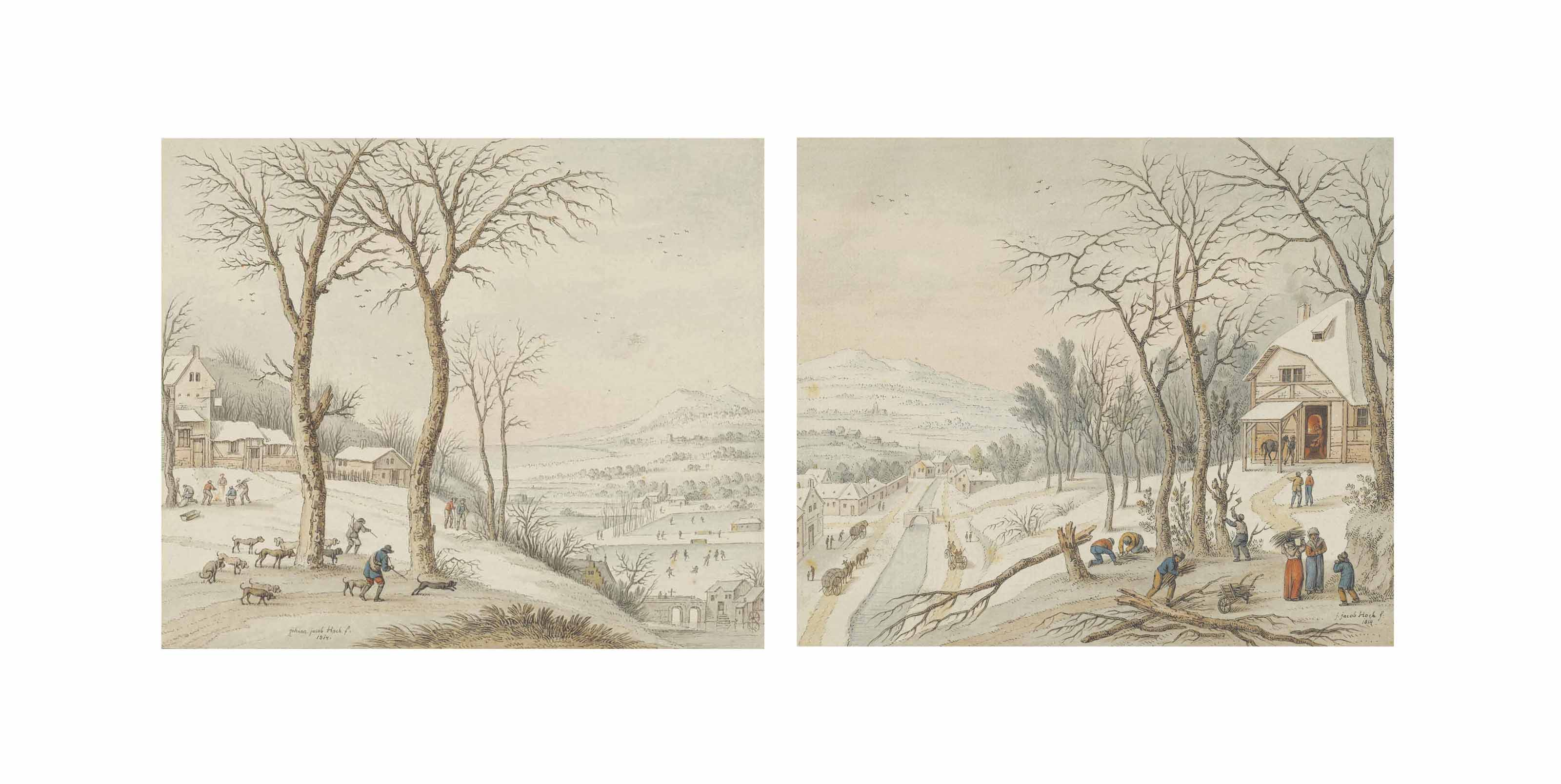 Hunters in a winter landscape with skaters beyond; and Woodcutters beside a forge in a winter landscape