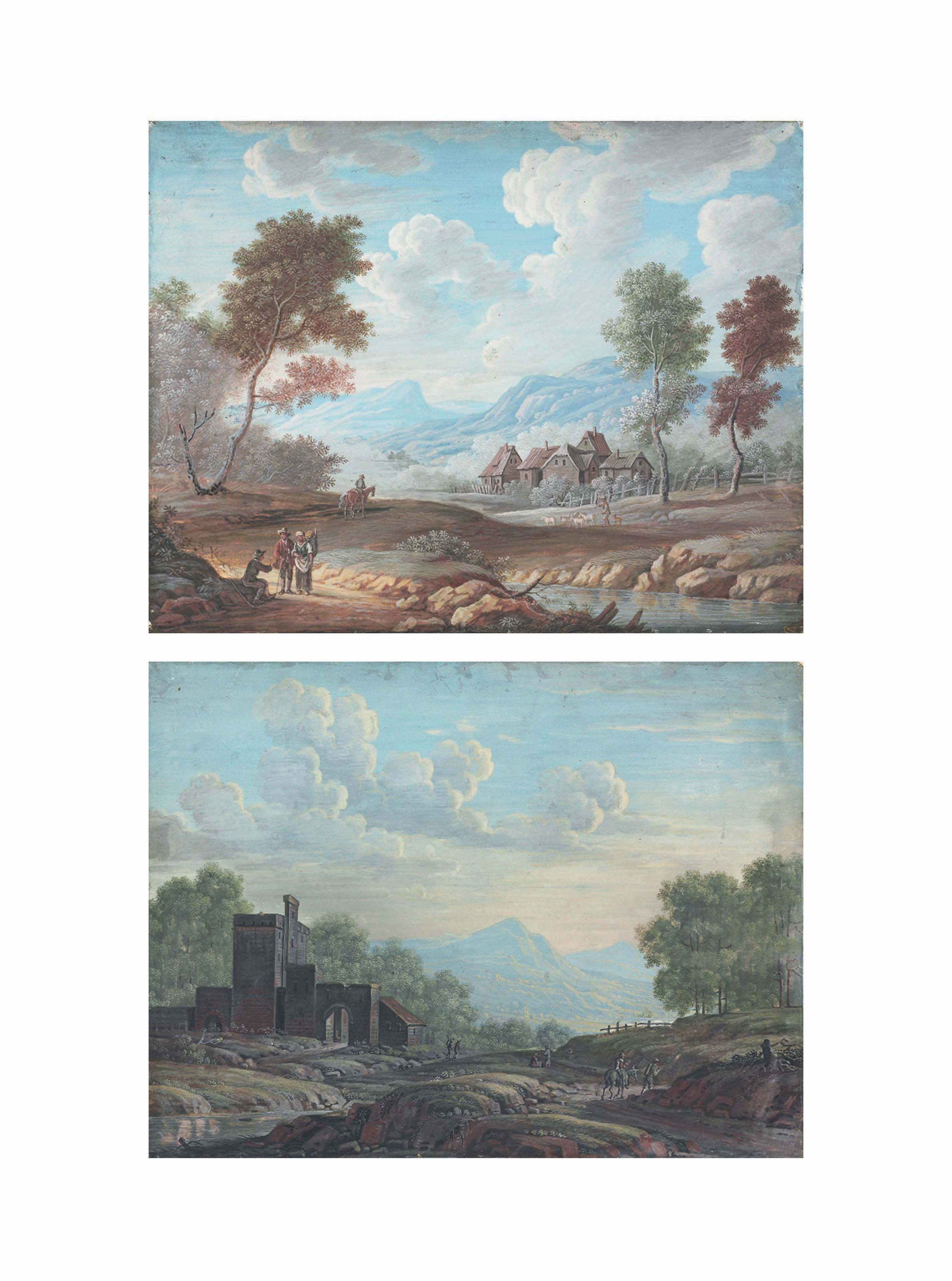 Travellers in a wooded landscape, a village beyond; and A wooded landscape with a castle, travellers on a road